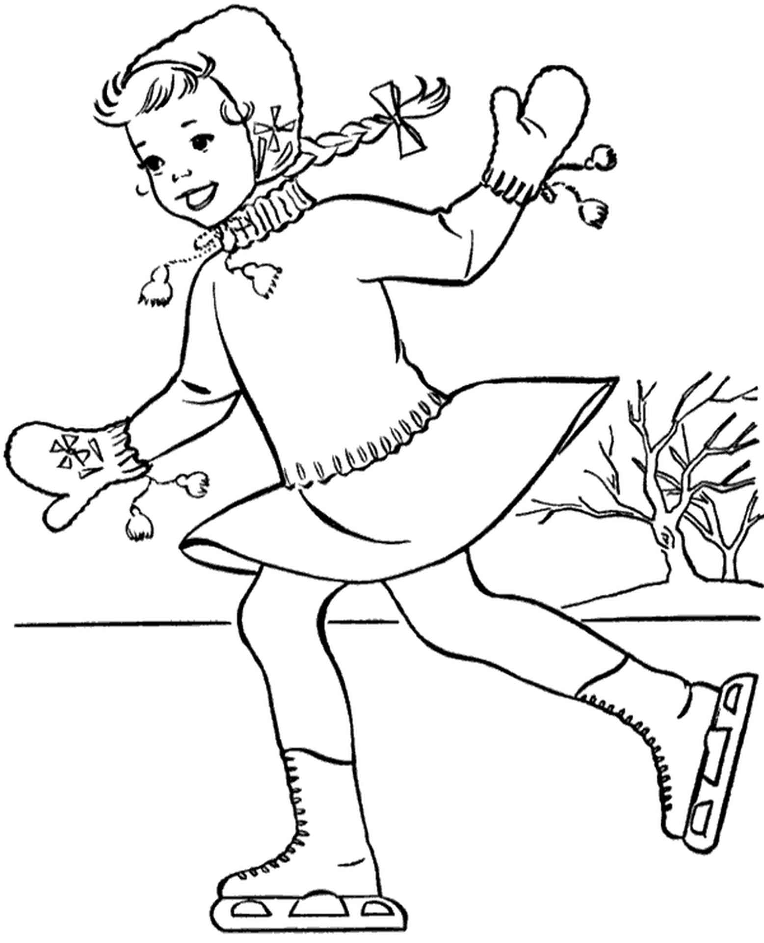 Classic Coloring Picture Skating