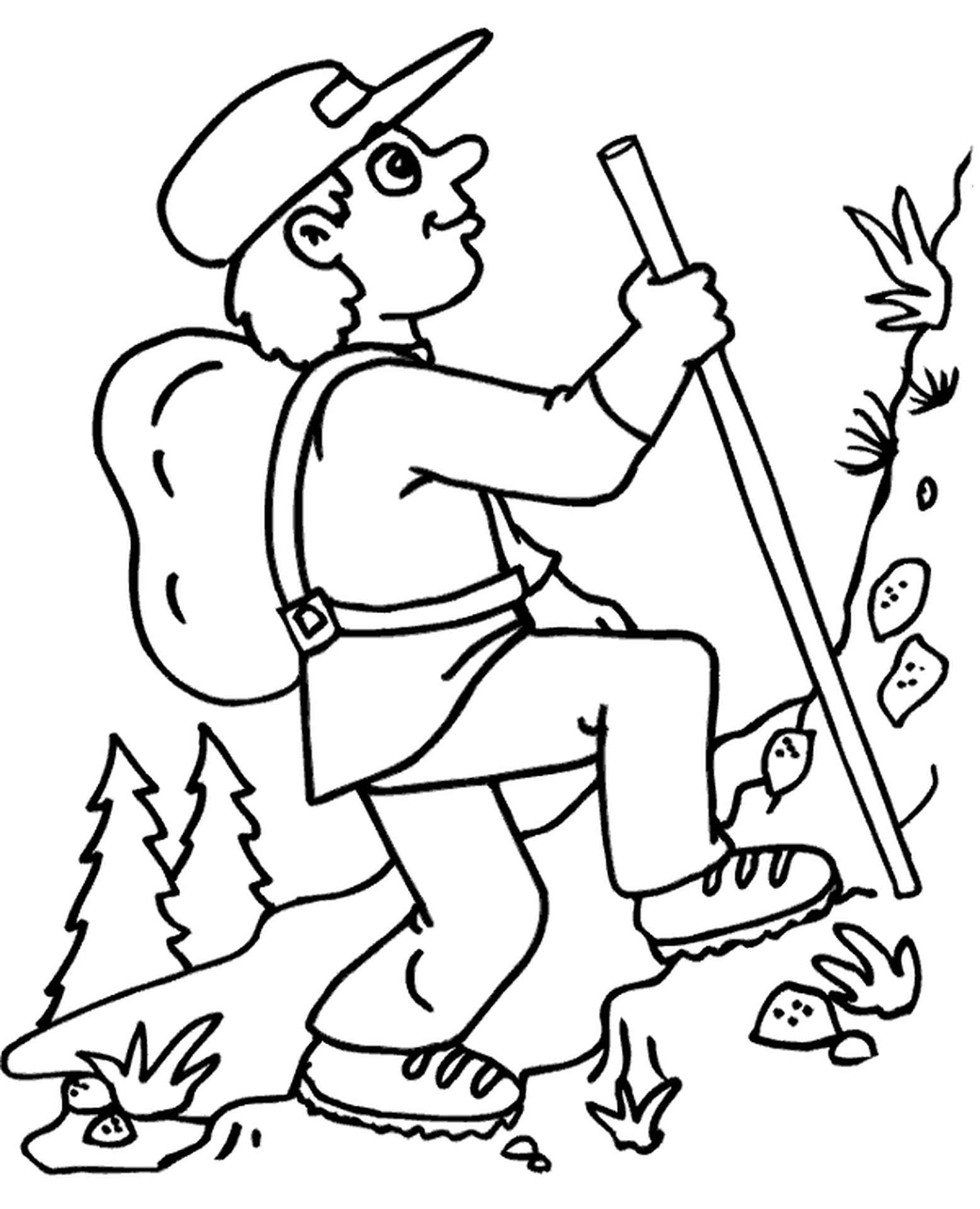 Climbing In The Mountains Coloring Page