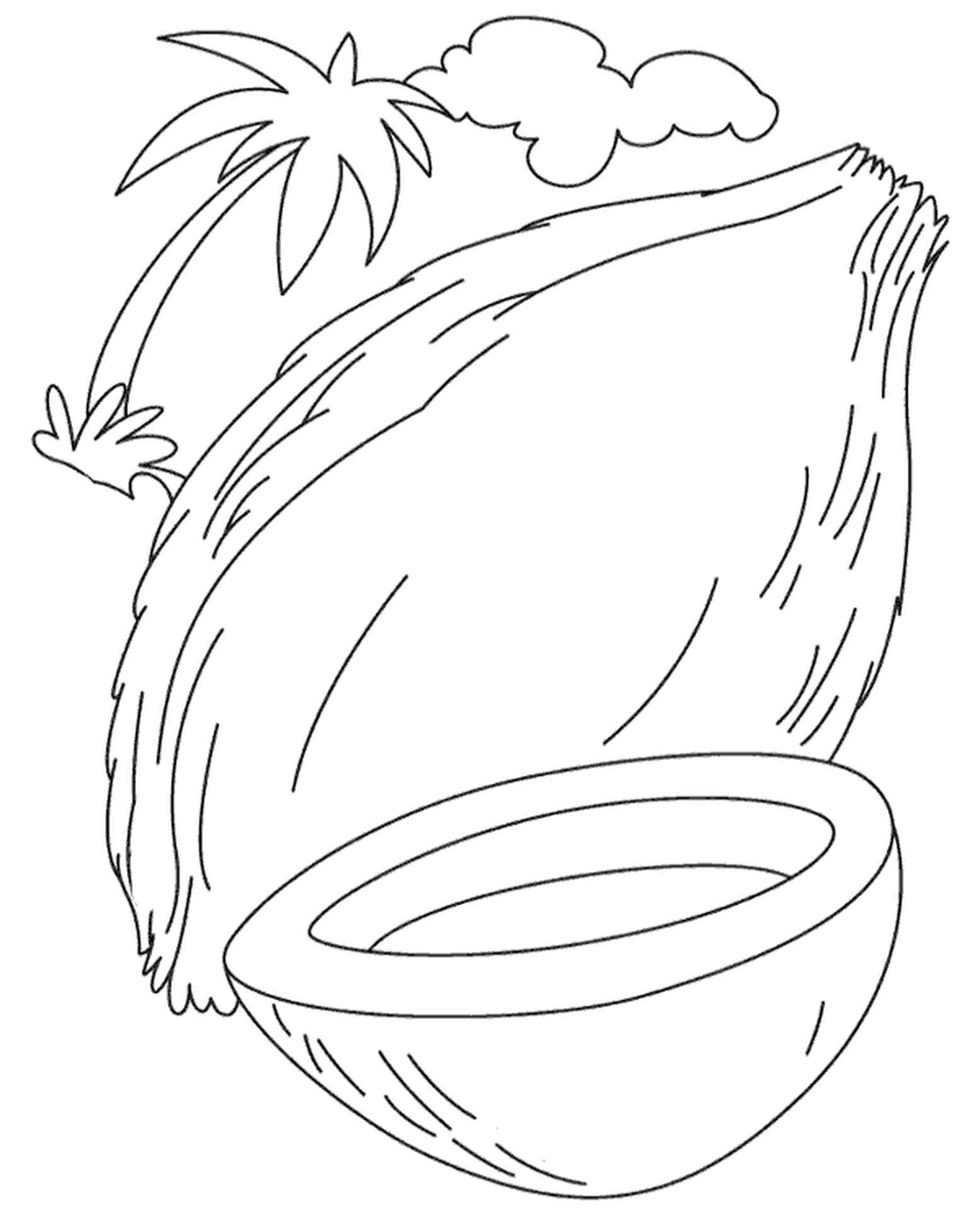 Coconout And A Palm Coloring Page