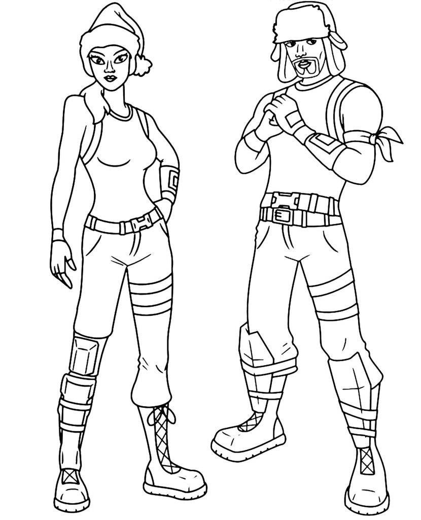 Coloring Page Girl And Kid In Christmas Skins In Fortnite