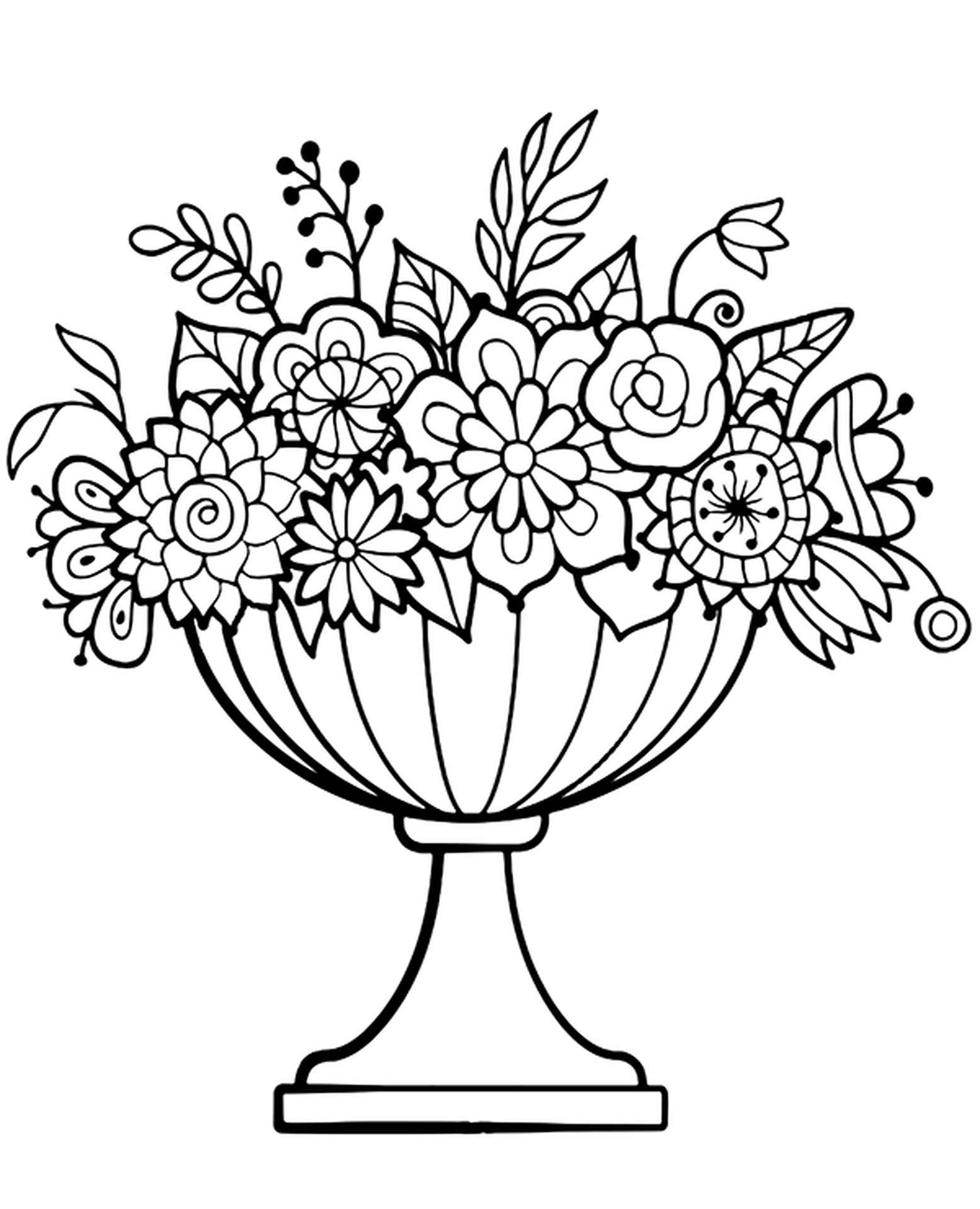 Coloring Page Graceful Vase Of Flowers