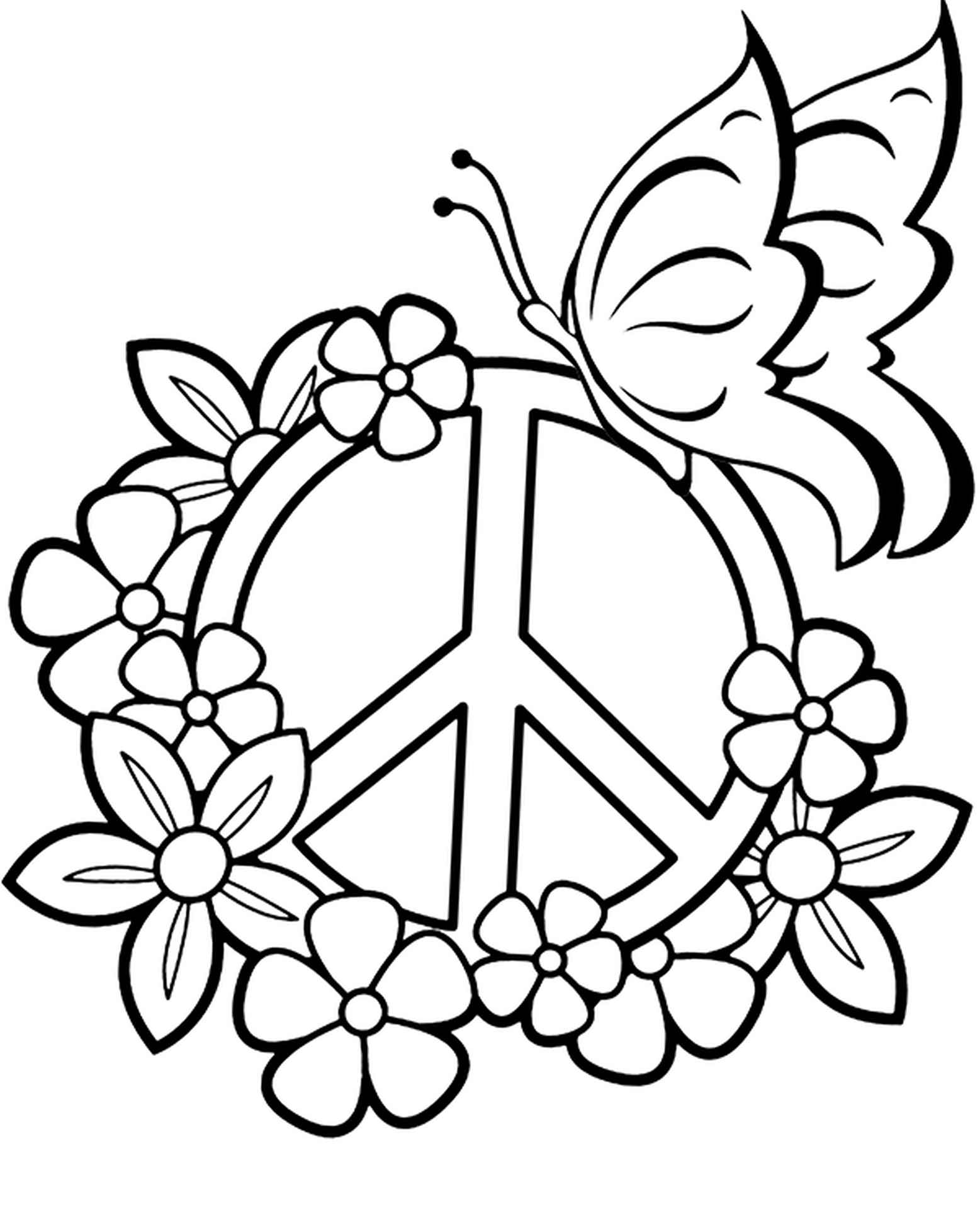 Coloring Page Of A Symbol Of Peace Braided With Flowers Next To A Butterfly