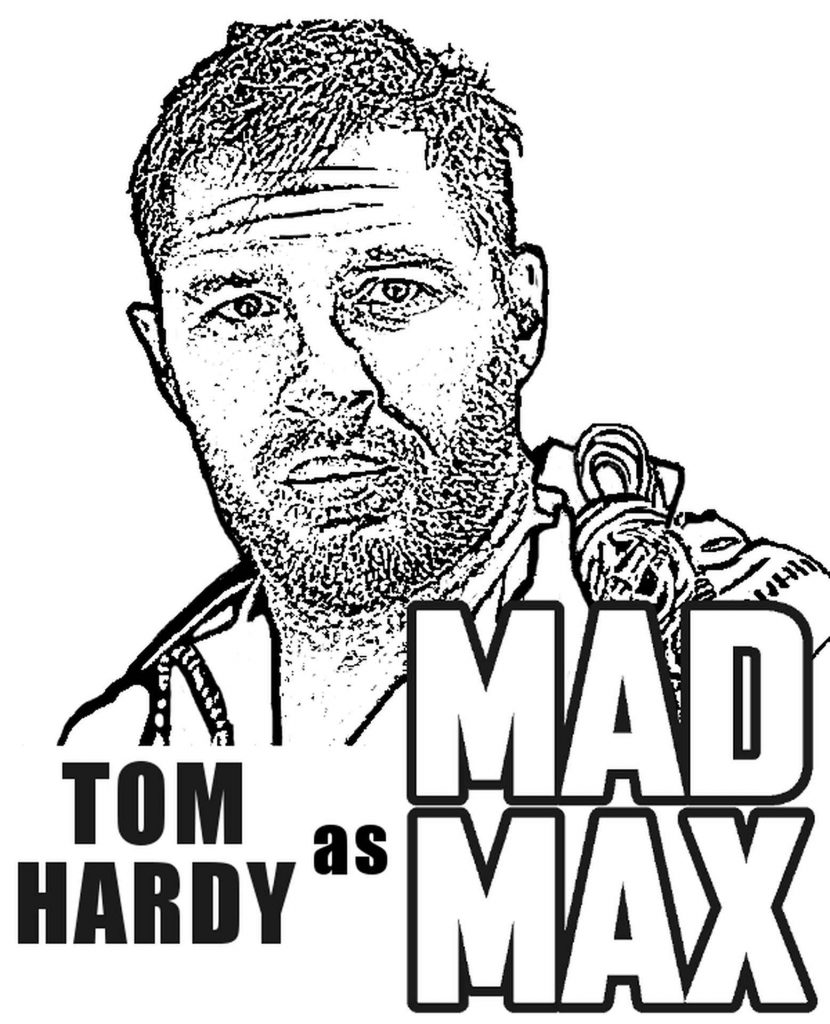 Coloring Page Of Actor Tom Hardy As Mad Max