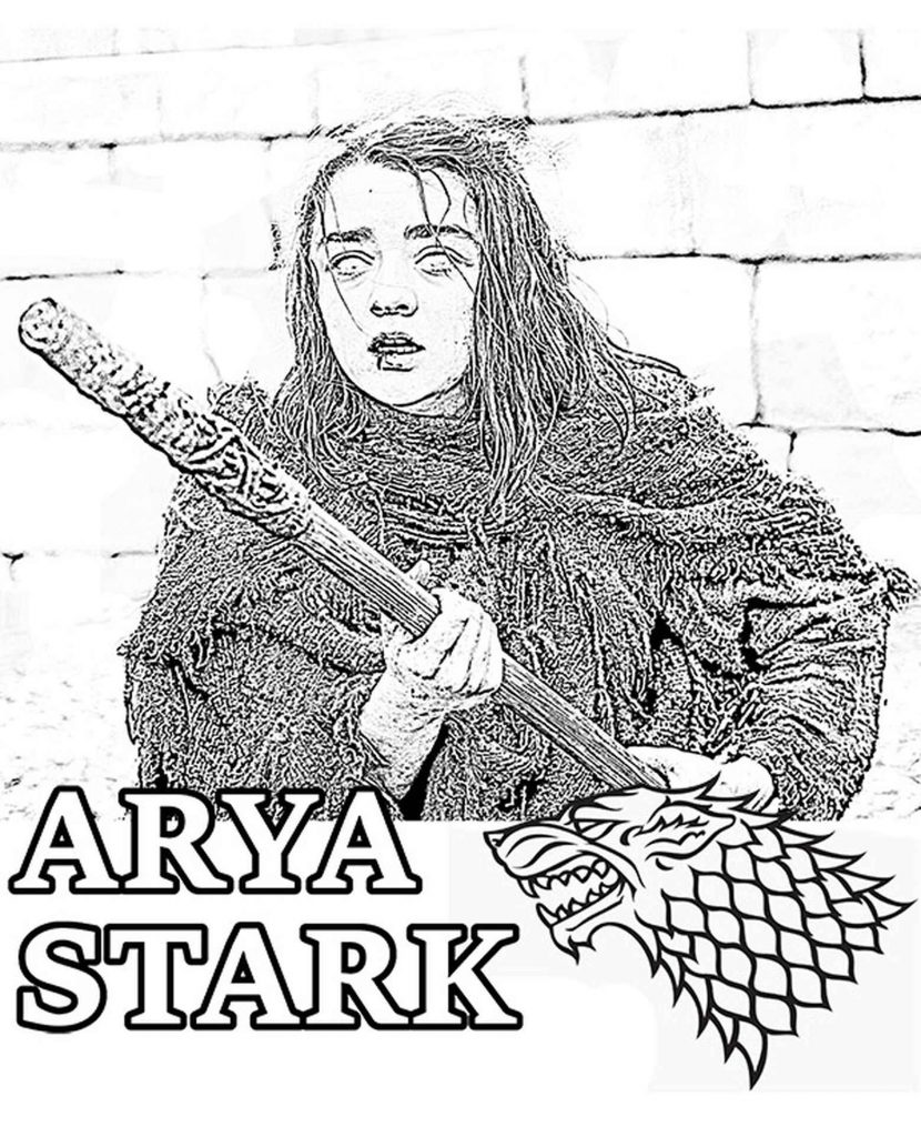 Coloring Page Of Arya Stark On The Attack