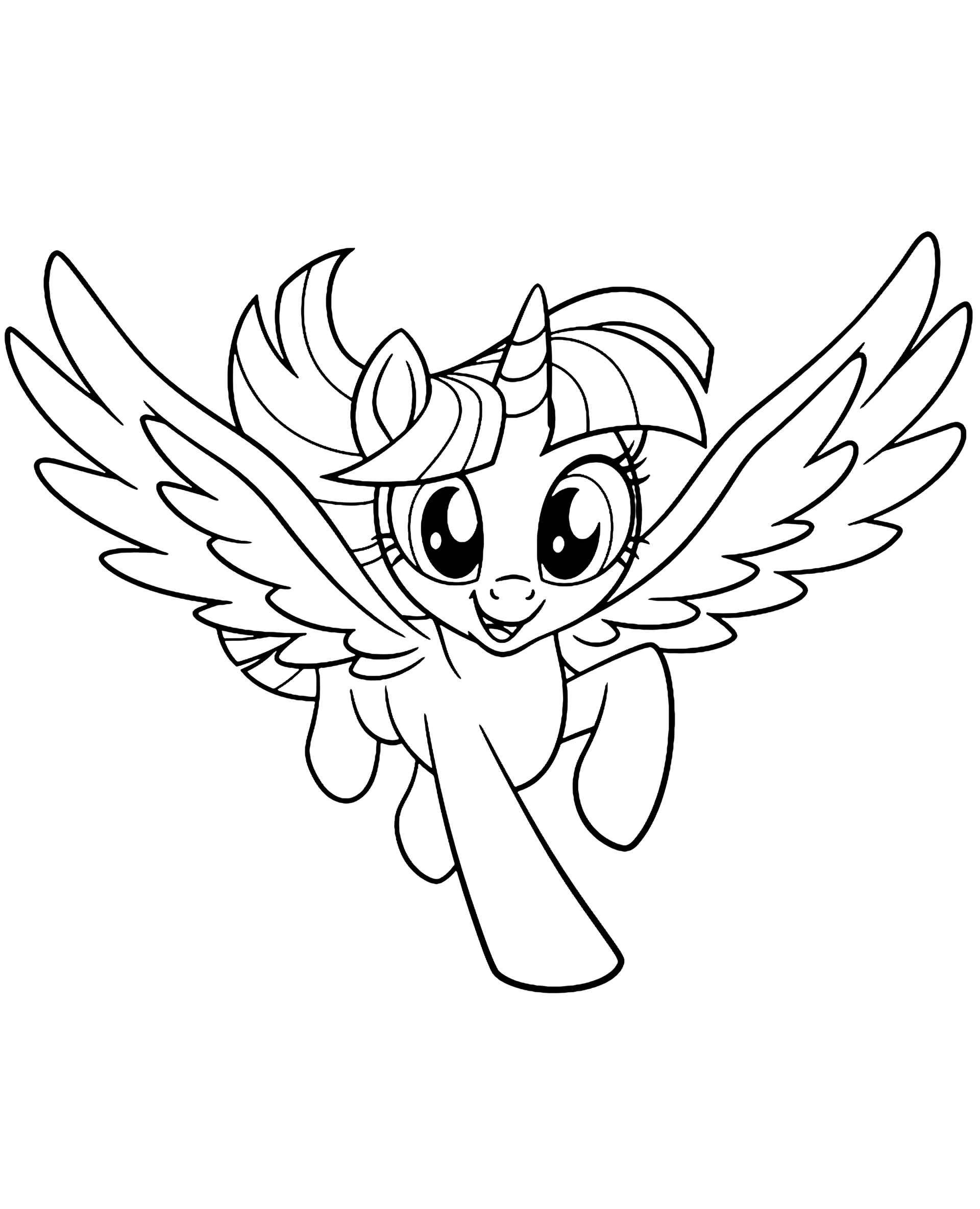 Coloring Page Of Confident Flying Pony Sparkle