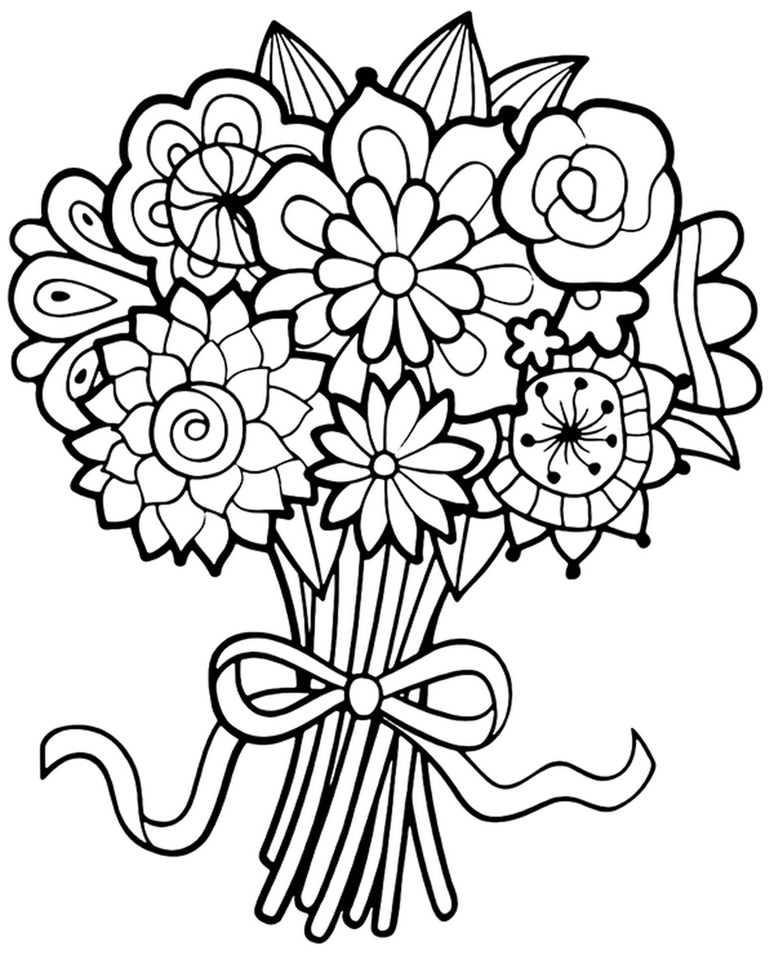 Coloring Page Of French Bouquet Of Flowers