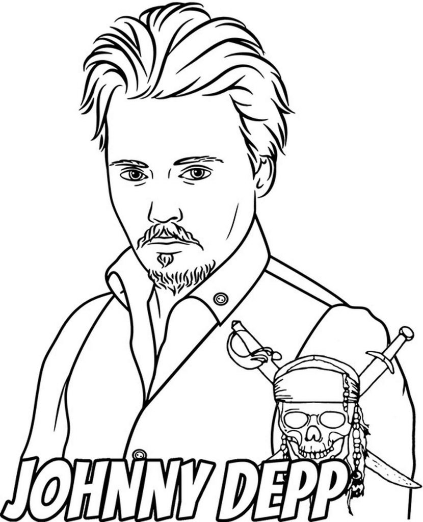 Coloring Page Of Johnny Depp In A Suit With The Symbol Pirates Of The Caribbean