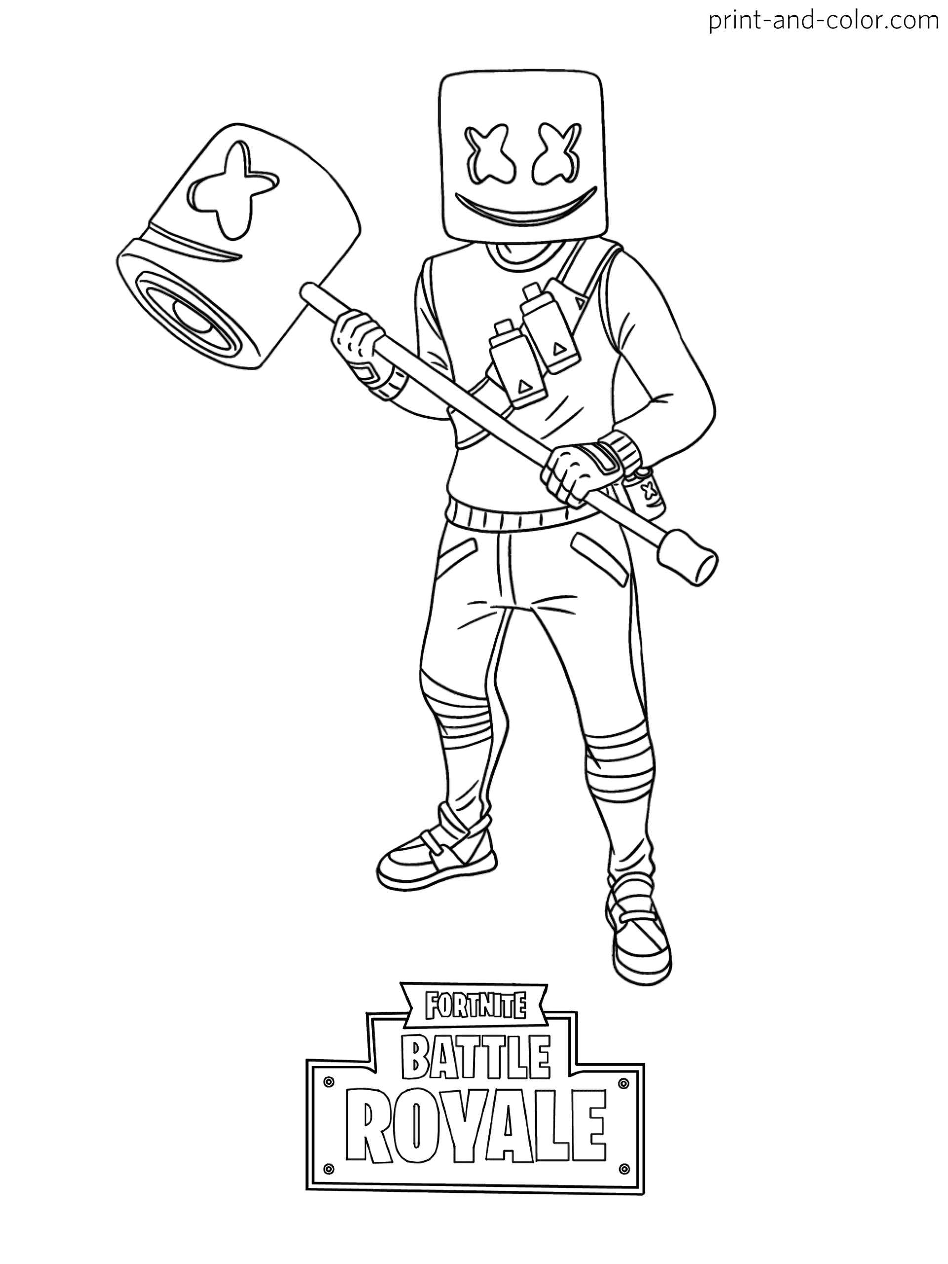Coloring Page Of Marshmelllow With Wood Sledgehammer Skin From The Game Fortnite