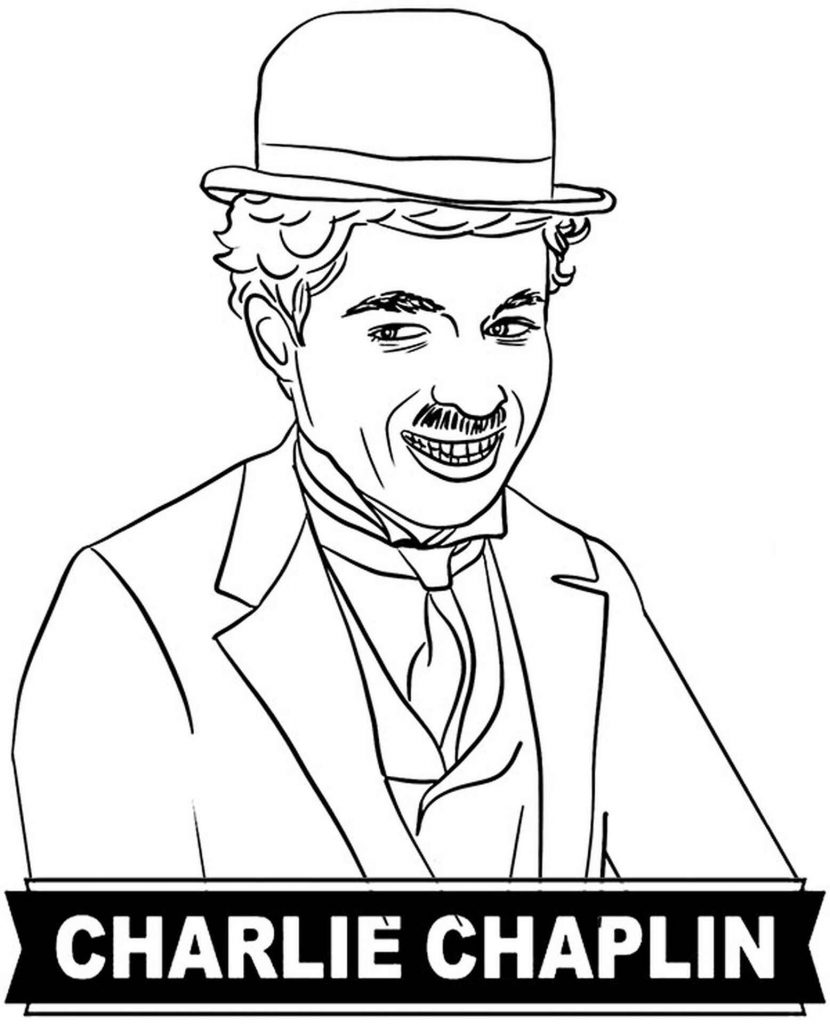 Coloring Page Of Smiling Charlie Chaplin In A Hat
