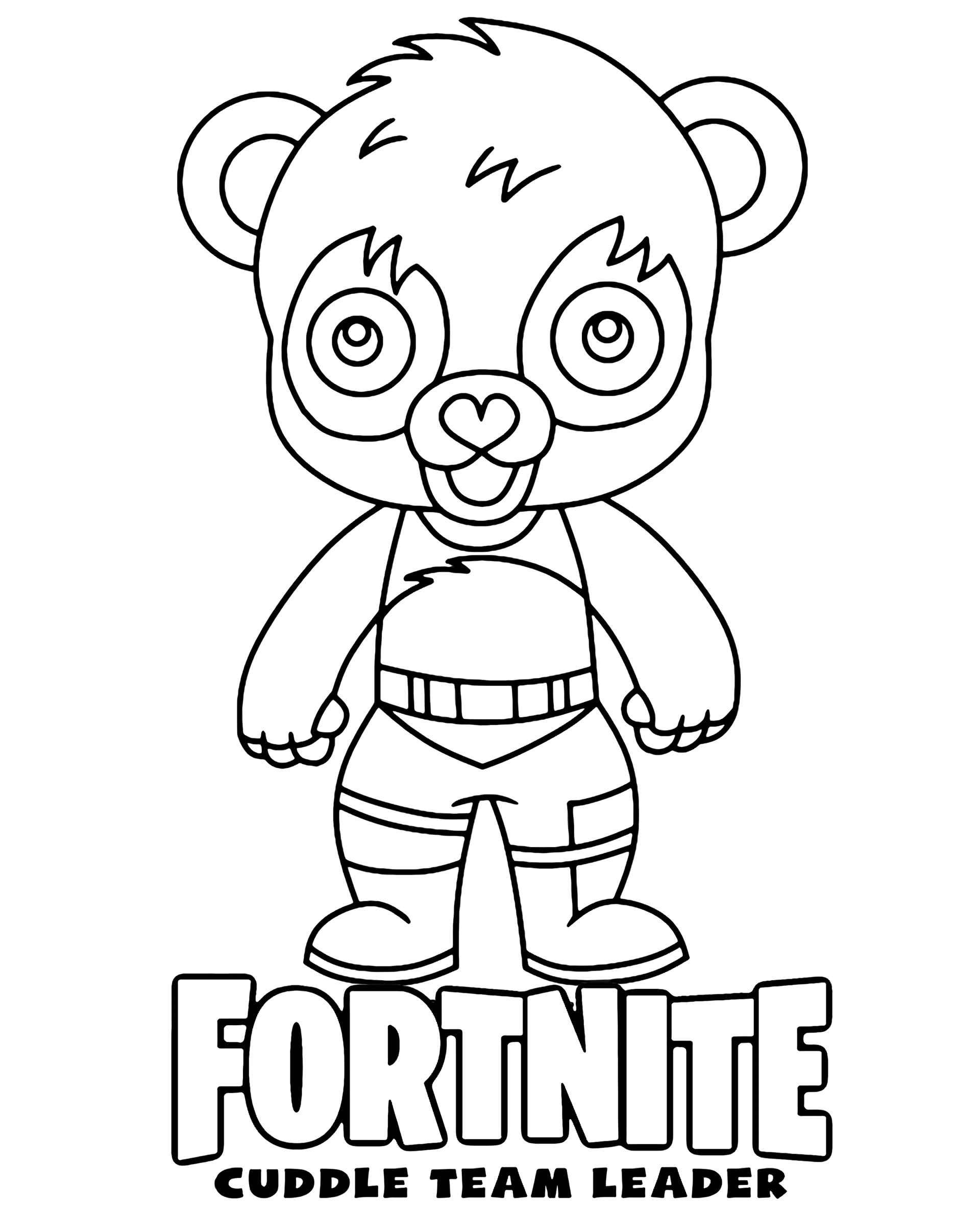 Coloring Page Of The Cuddle Team Leader Chibi Skin From The Game Fortnite