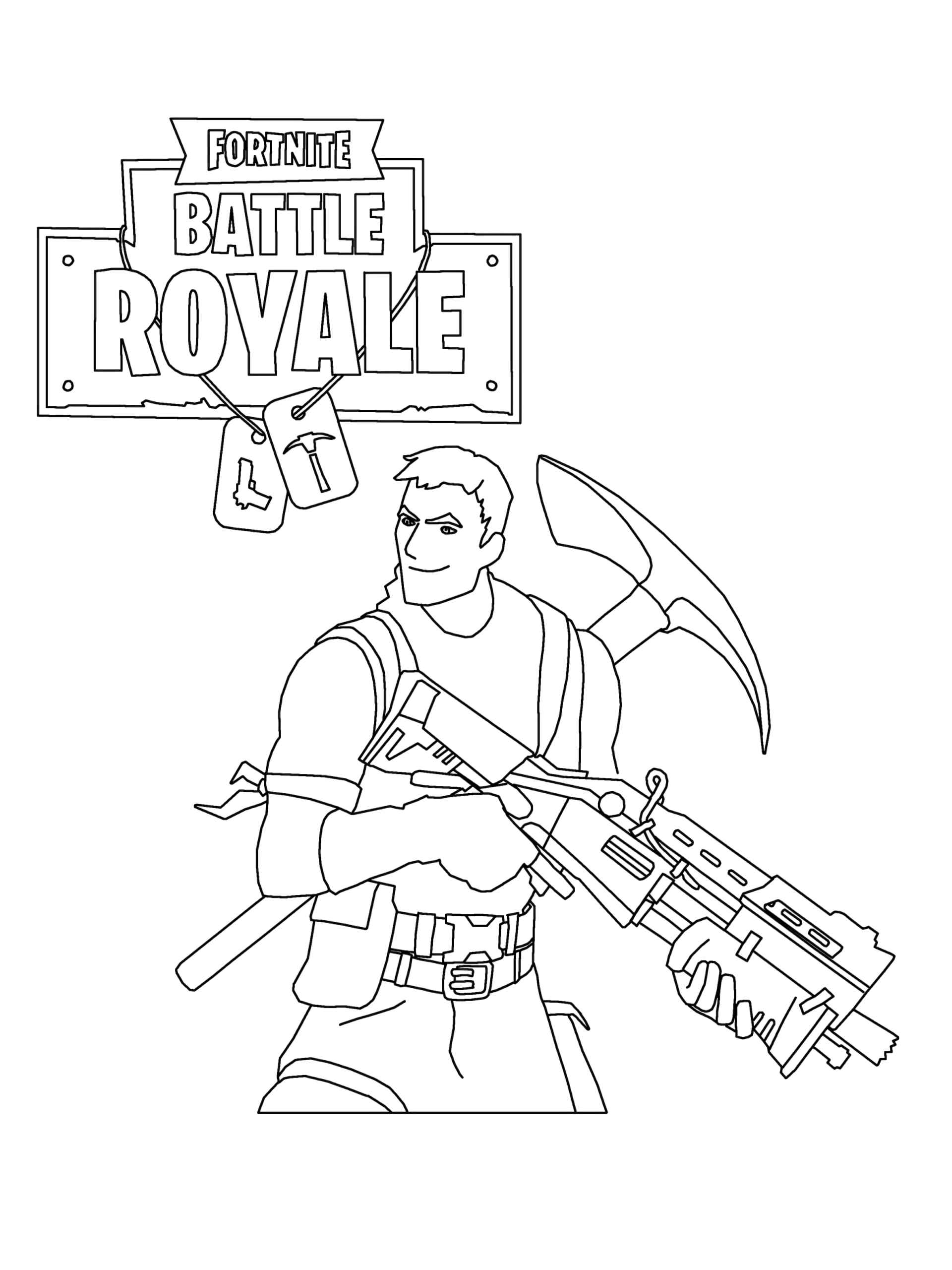 Coloring Page Of The Kid With A Pickaxe And A Weapon In Fortnite