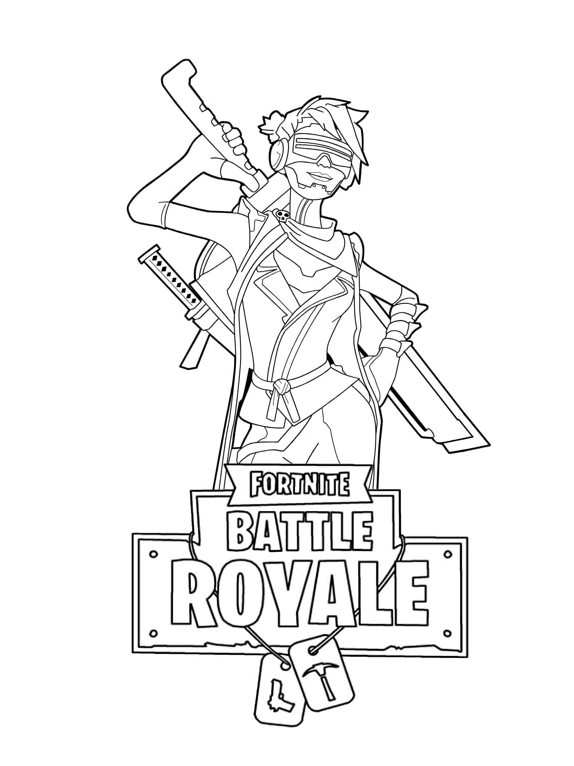 Coloring Page Of The Tough Girl With Two Swords Skin From The Game Fortnite