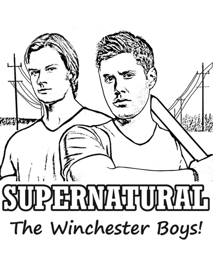 Coloring Page Of The Winchester Brothers From The Tv Series Supernatural