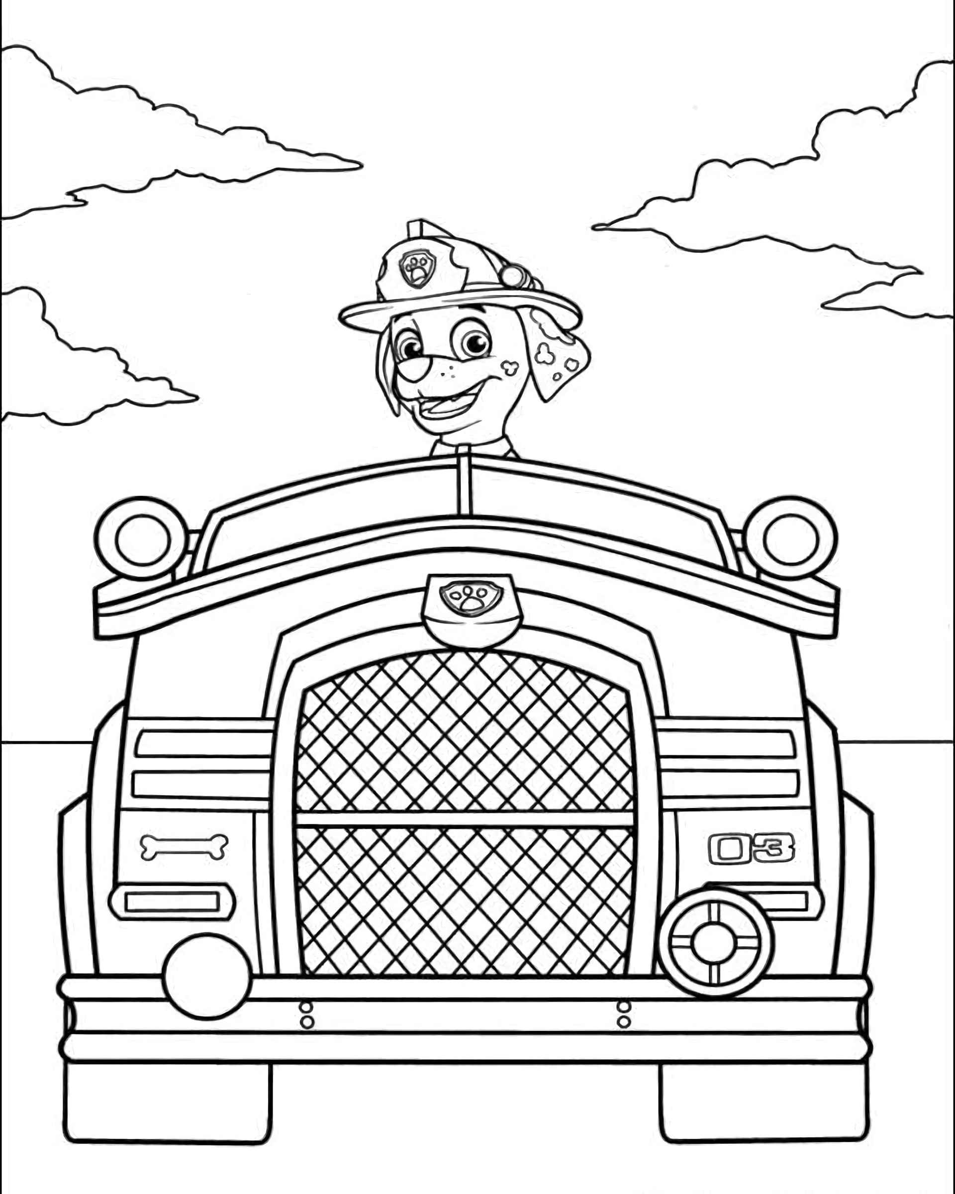 Coloring Page Paw Patrol Marshal By Car