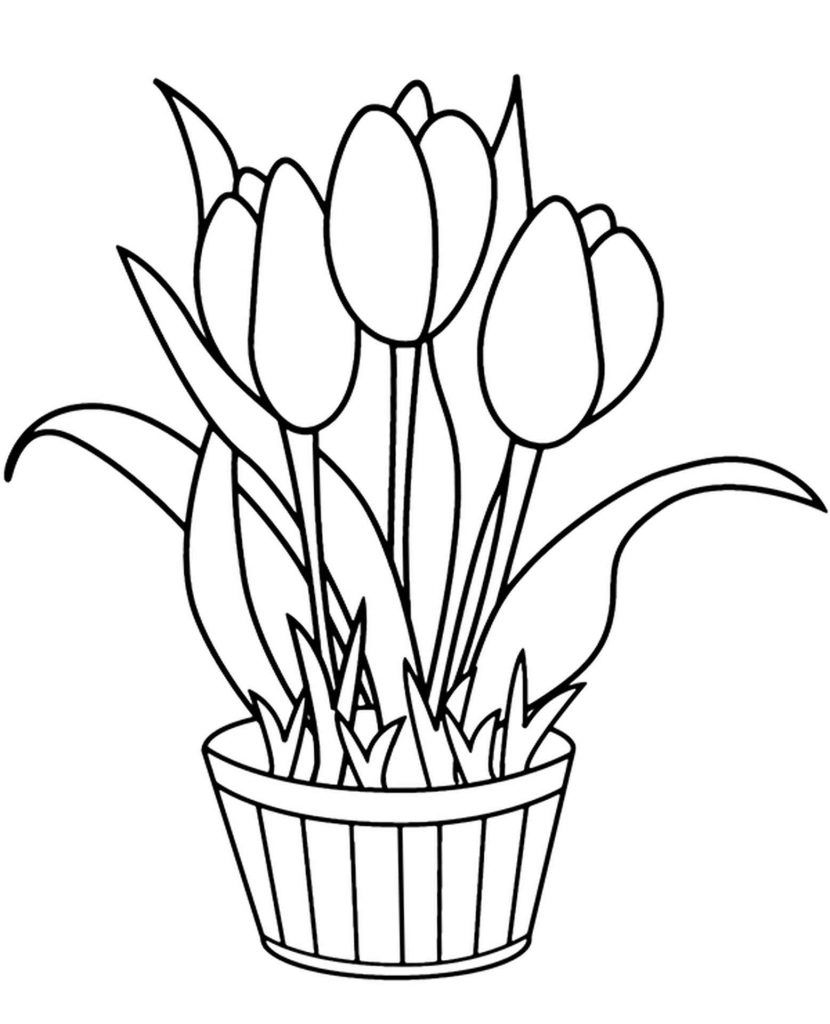 Coloring Page Potted Tulmans