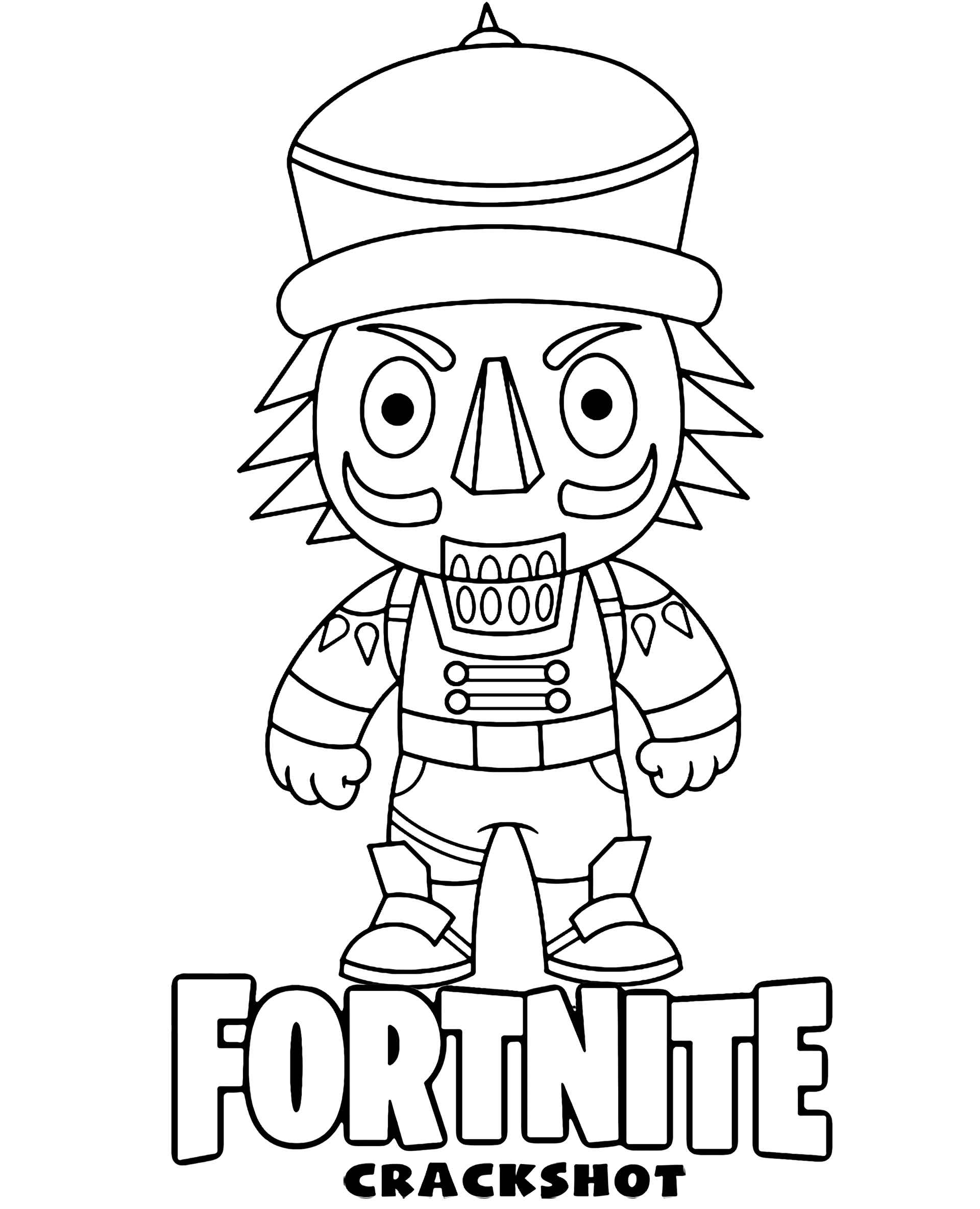 Coloring Page The Crackshot Chibi Skin From The Game Fortnite