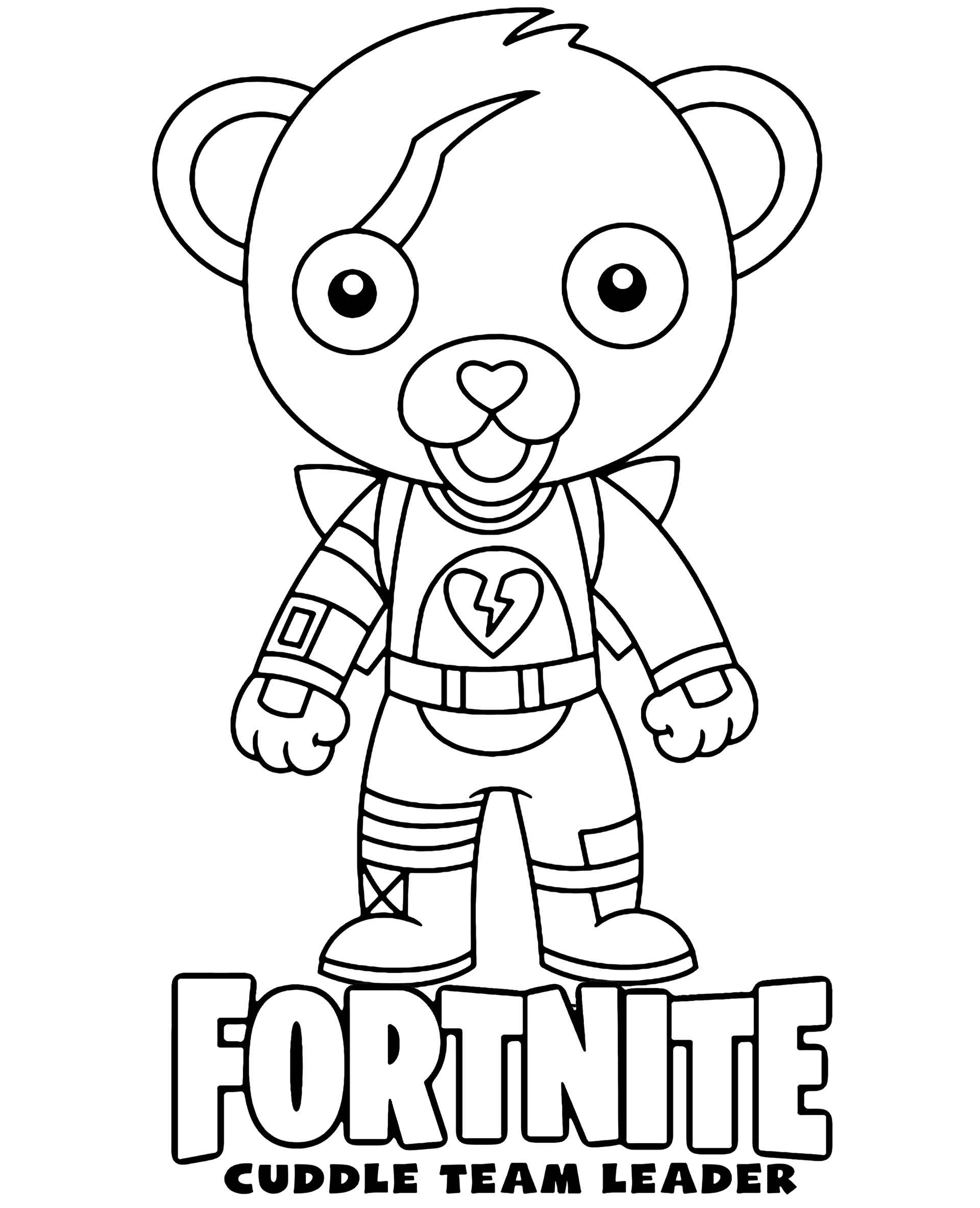 Coloring Page The Cuddle Team Leader Chibi Skin From The Game Fortnite