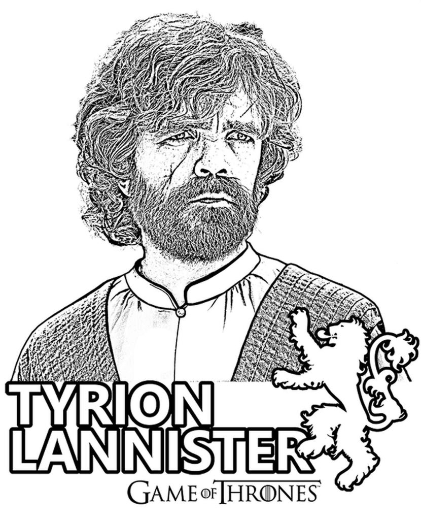 Coloring Page The Doubting Tyrion Lannister From Game Of Thrones
