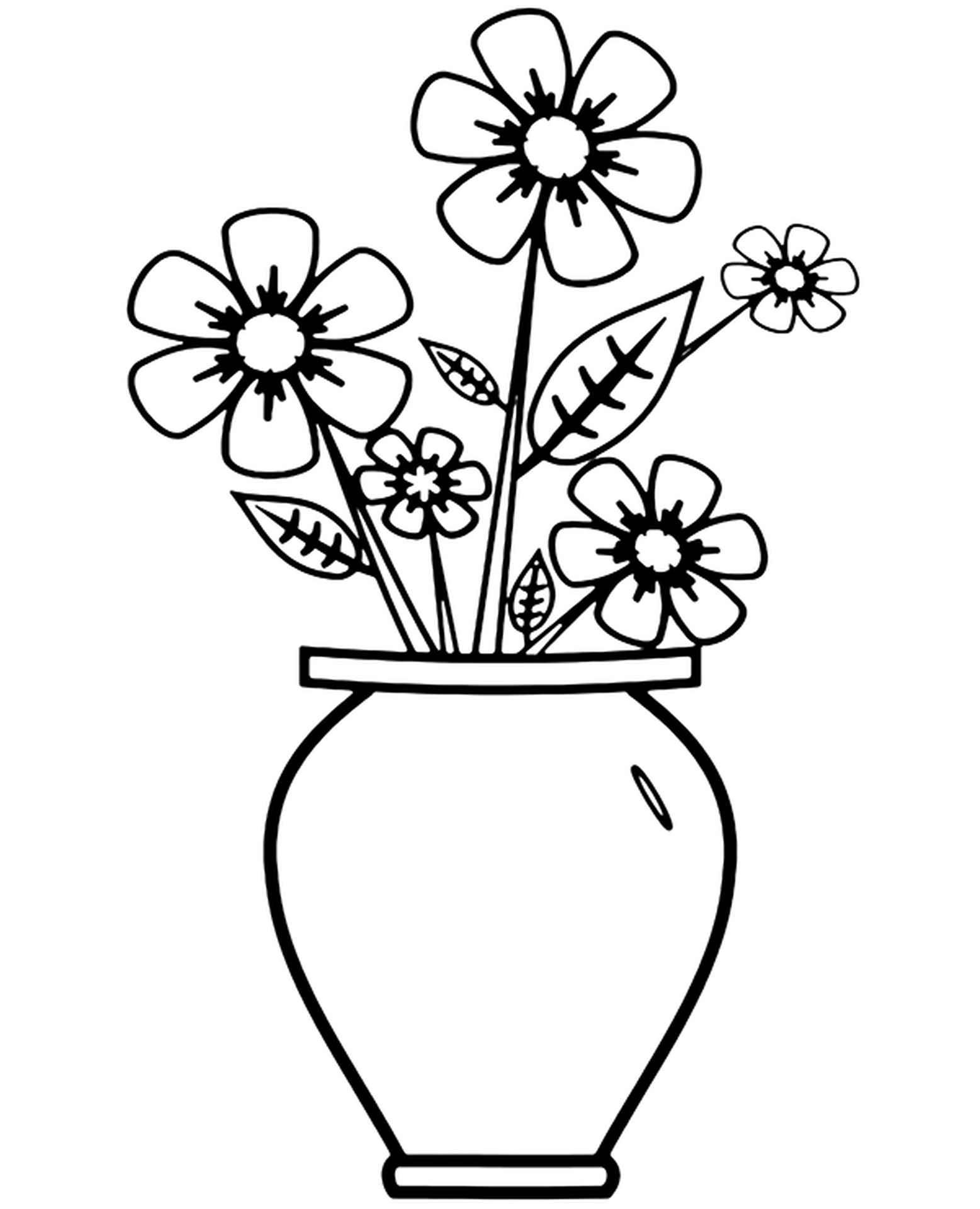 Coloring Pages Of Spring Flowers In A Vase