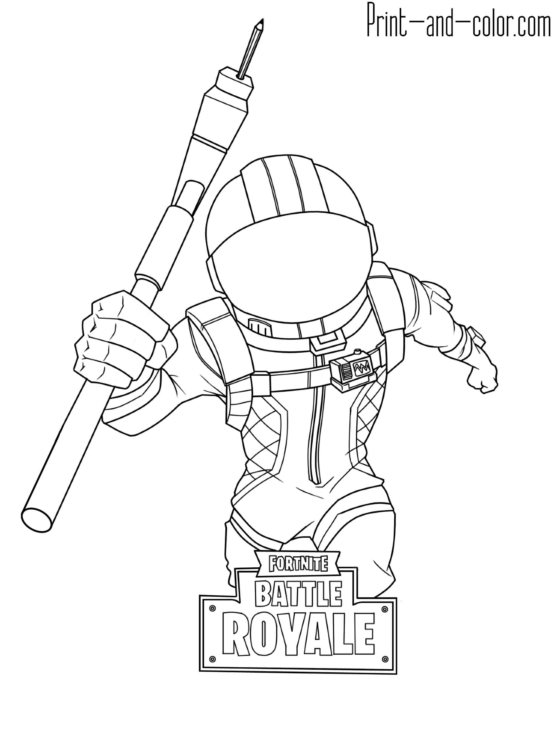 Coloring Sheet Attacking Astronaut Skin From The Game Fortnite