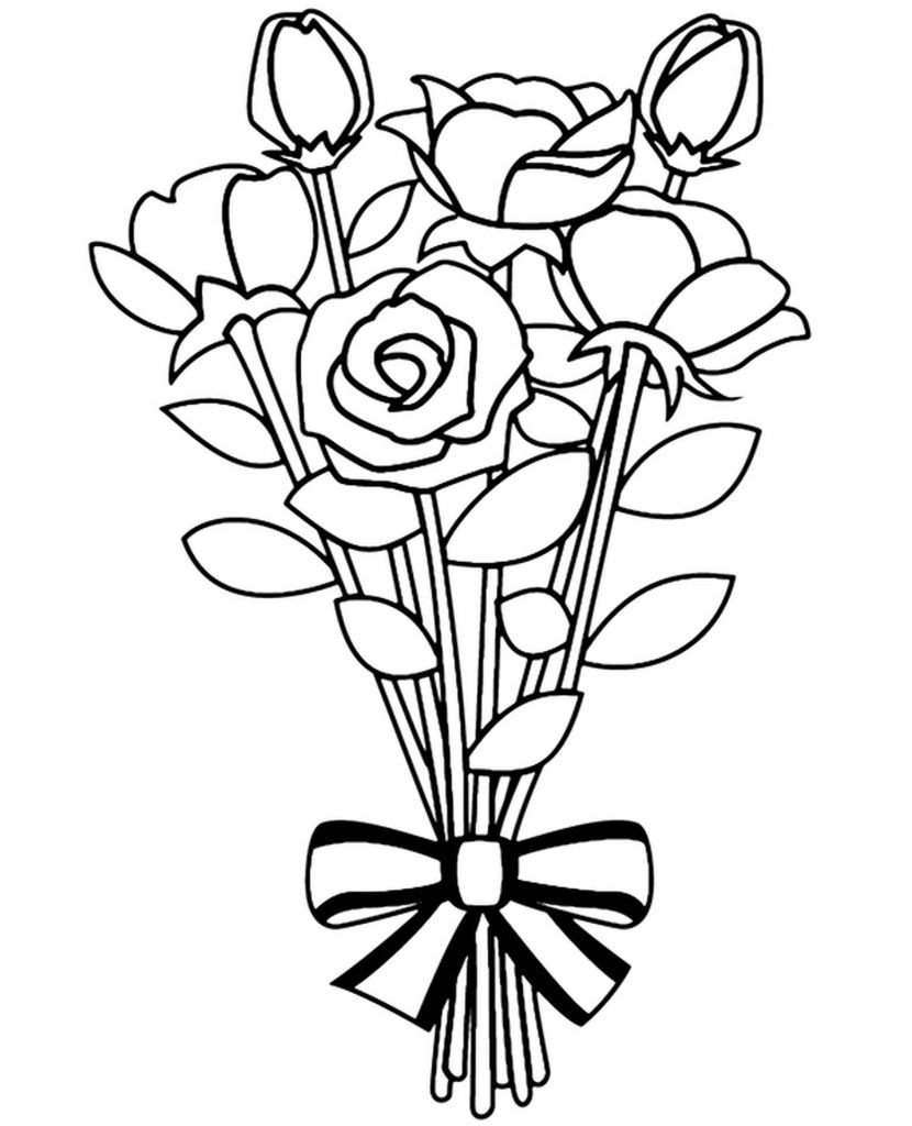 Coloring Sheet Bouquet Of Red And Pink Roses