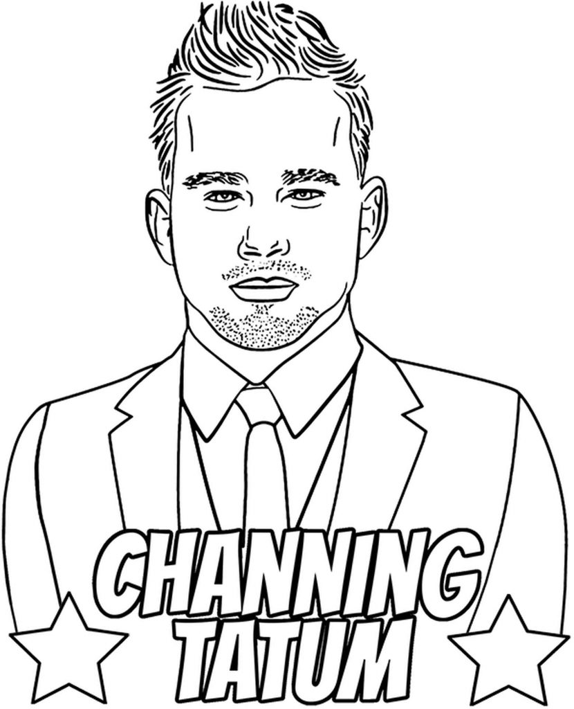 Coloring Sheet Channig Tatum In A Suit And Tie Fashionable Hairstyle