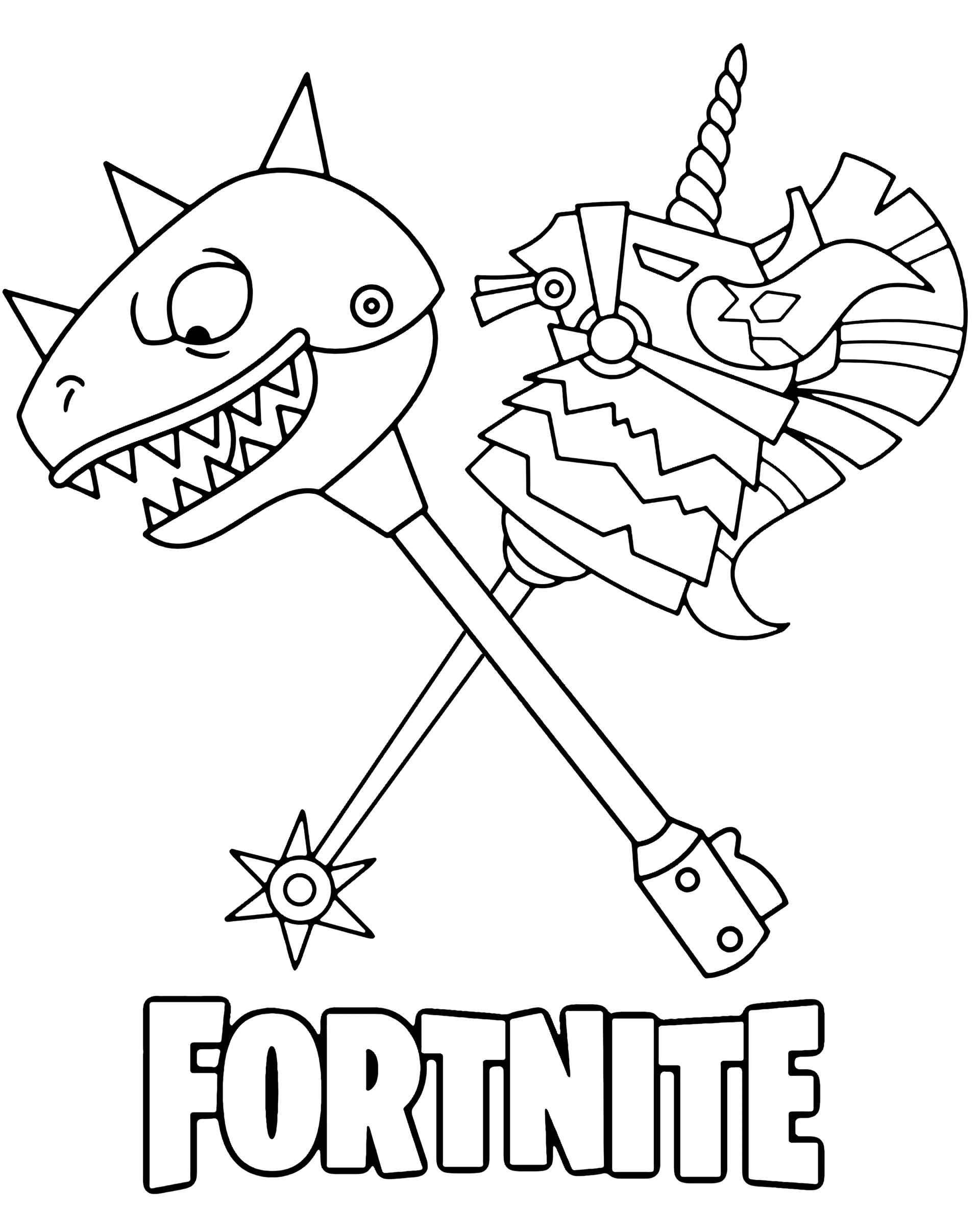 Coloring Sheet Cool Weapon From The Game Fortnite