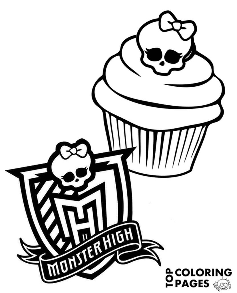 Coloring Sheet Cupcake Monster High With Logo