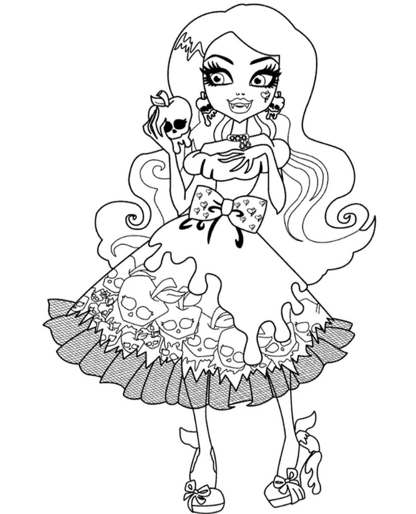 Coloring Sheet Draculaura From Monster High In A Dress At A Party