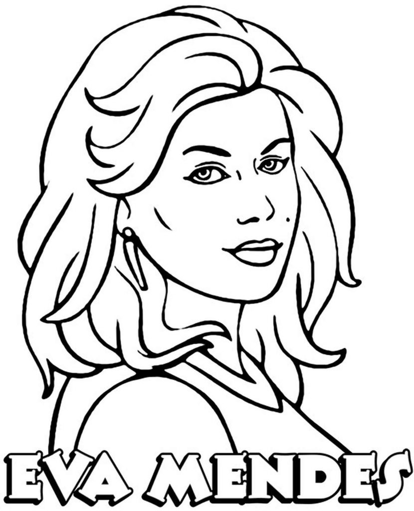 Coloring Sheet Eva Mendes With Loose Hair And Earrings