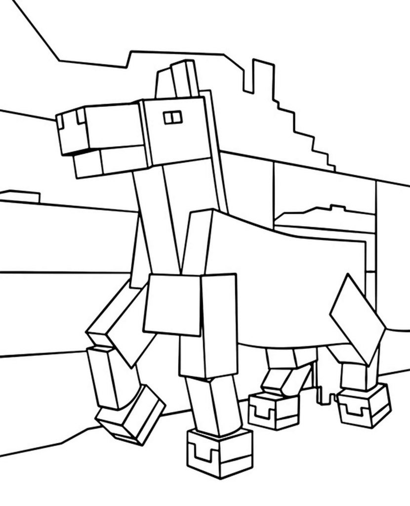 Coloring Sheet Horse Walks In Minecraft