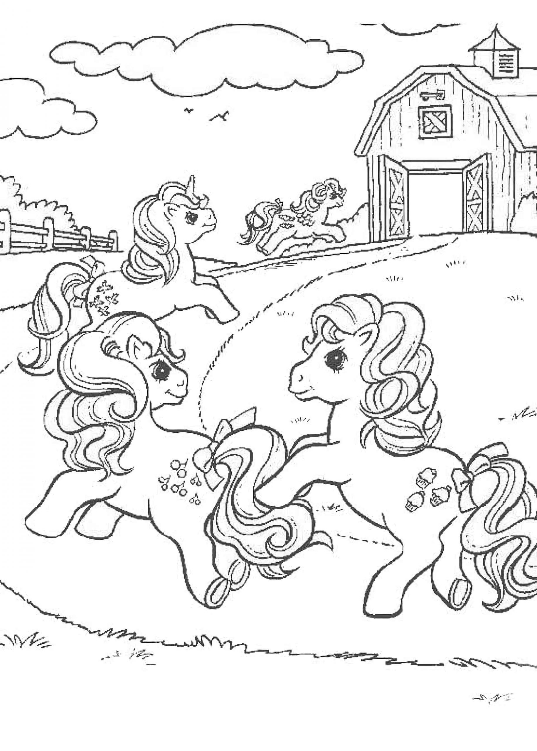 Coloring Sheet Pinkie Pie, Fluttershy And Other Ponies Run Home After A Picnic
