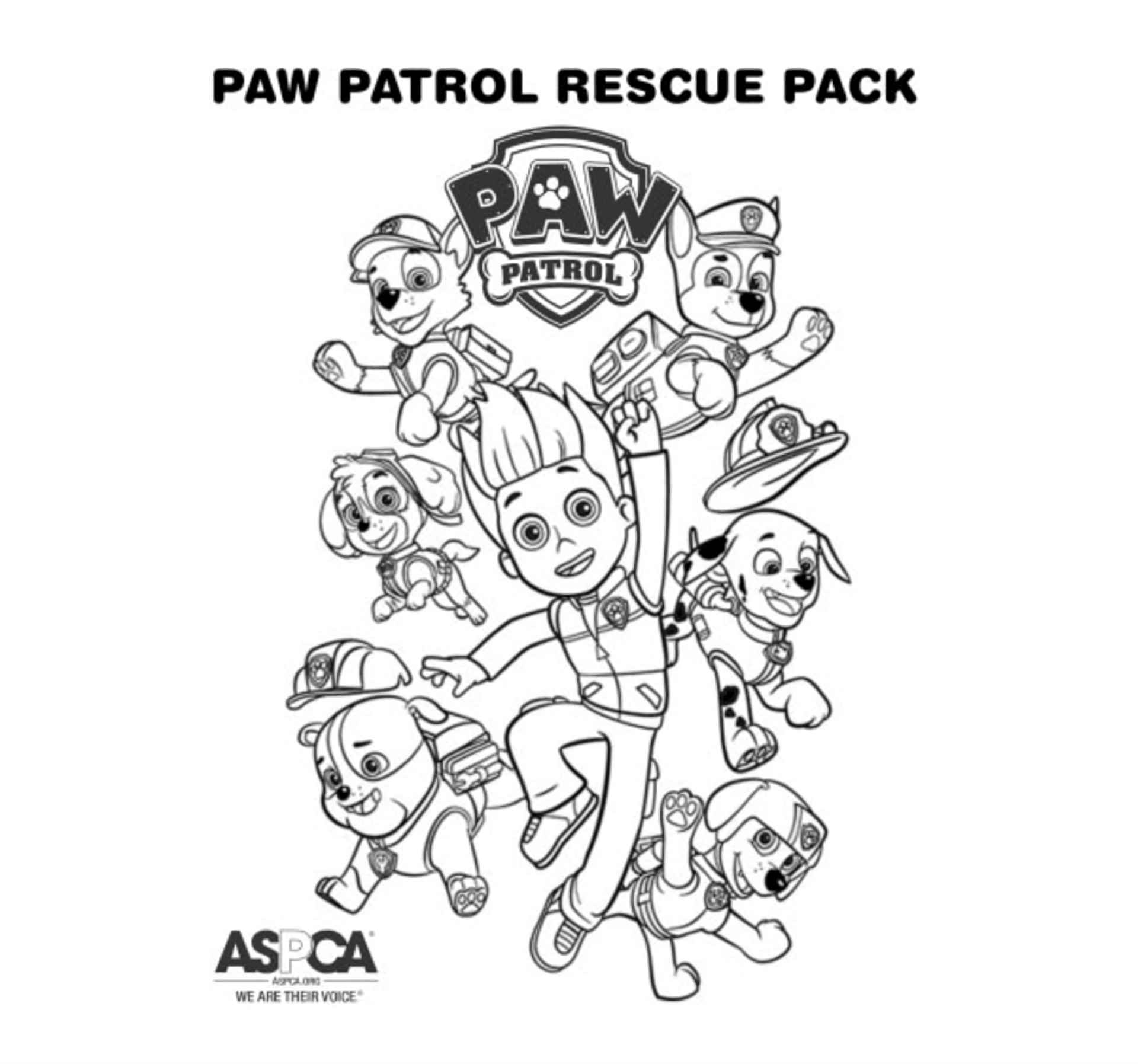 Coloring Sheet Ryder, Chase, Rubble, Zuma, Marshal And Skye From Paw Patrol