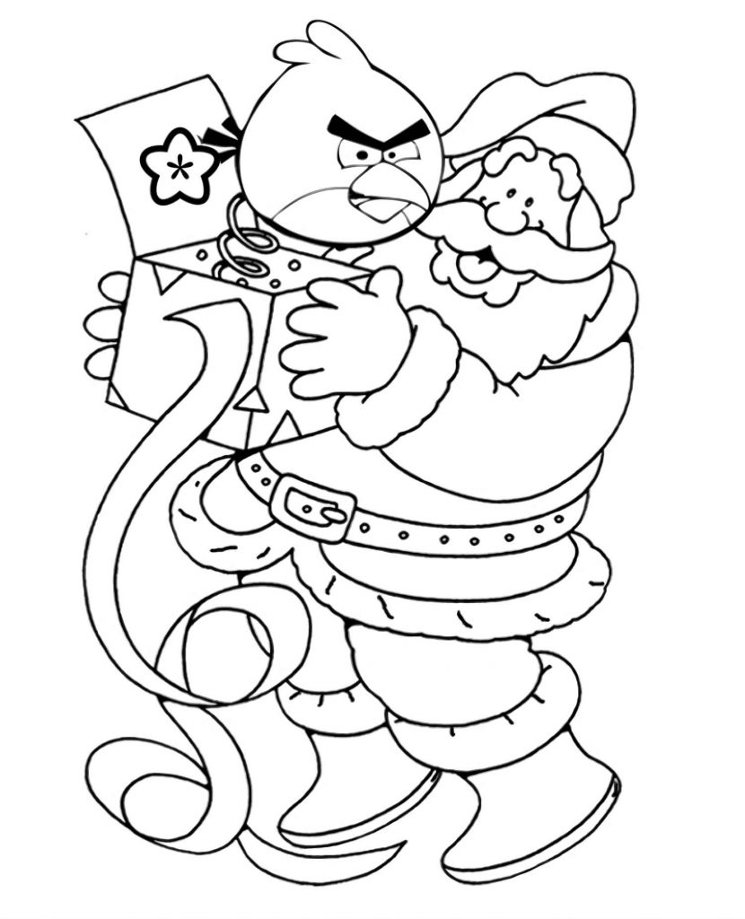 Coloring Sheet Santa Claus Holding A Box-Surprise With Red Of The Angry Birds