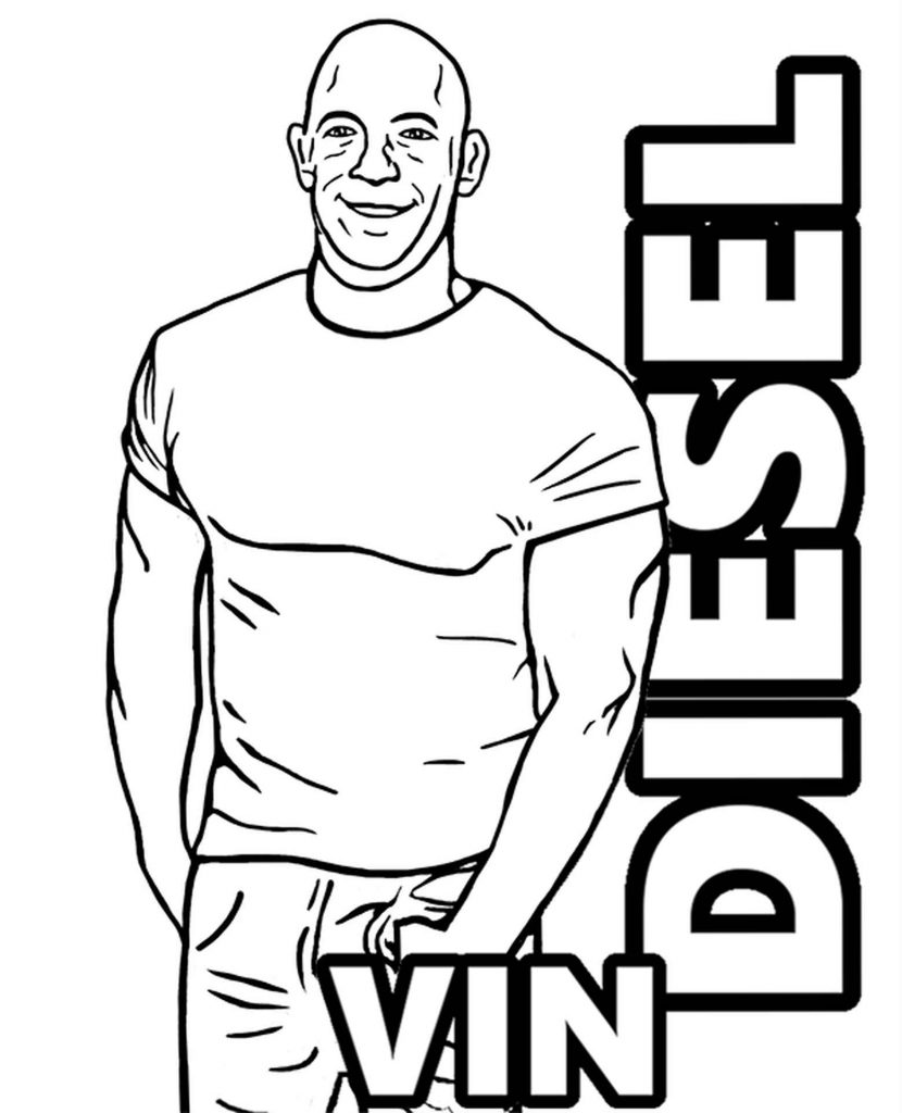 Coloring Sheet Smiling Vin Diesel With His Hand In His Pocket