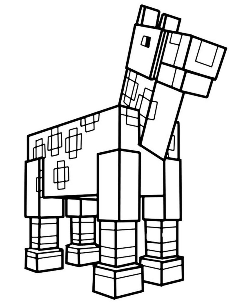 Coloring Sheet Spotted Horse In Minecraft