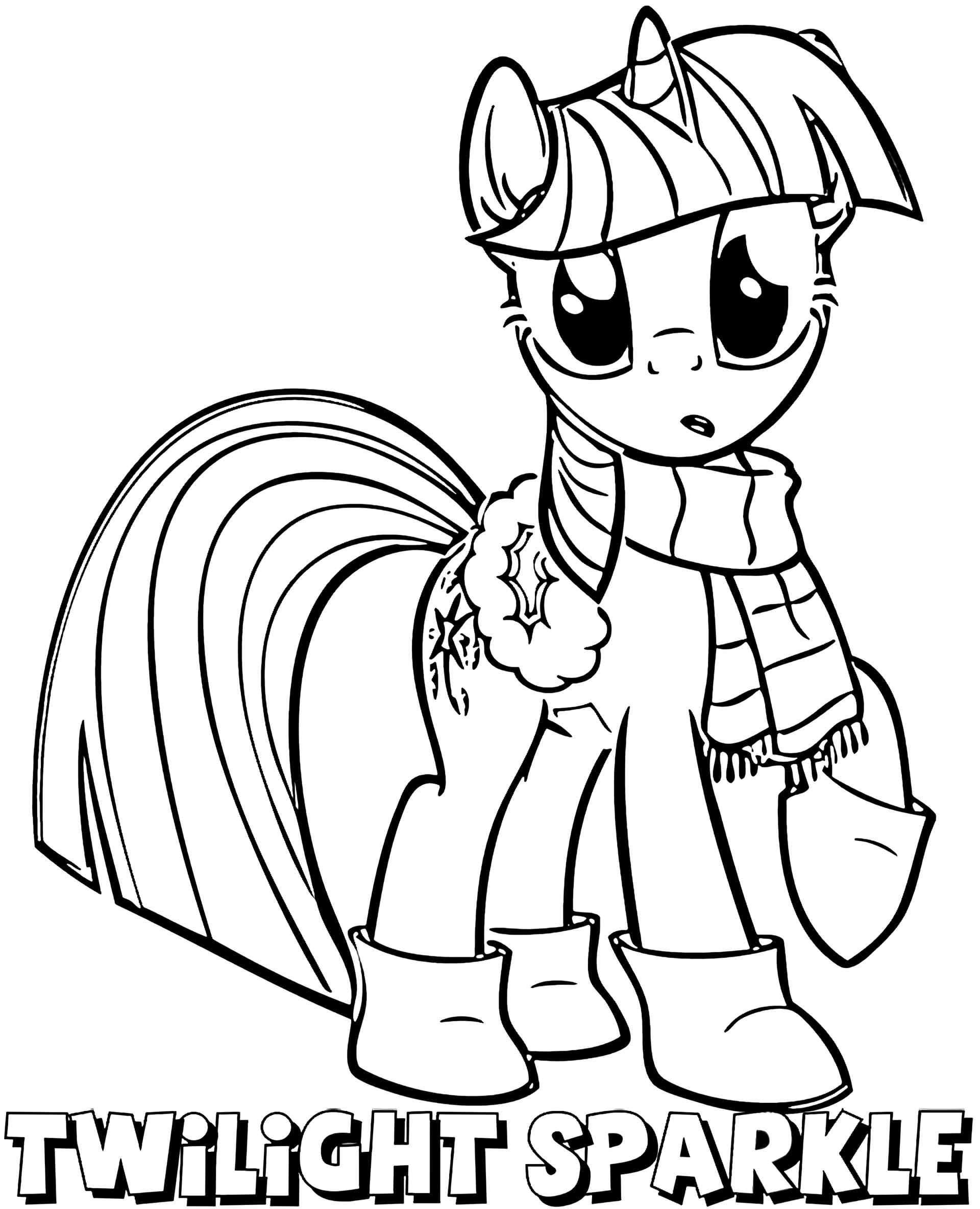 Coloring Sheet Surprised Pony Sparkle In Warm Clothes With A Name