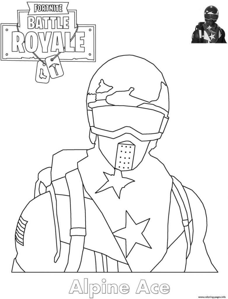 Coloring Sheet The Alpine Ace Skin From The Game Fortnite