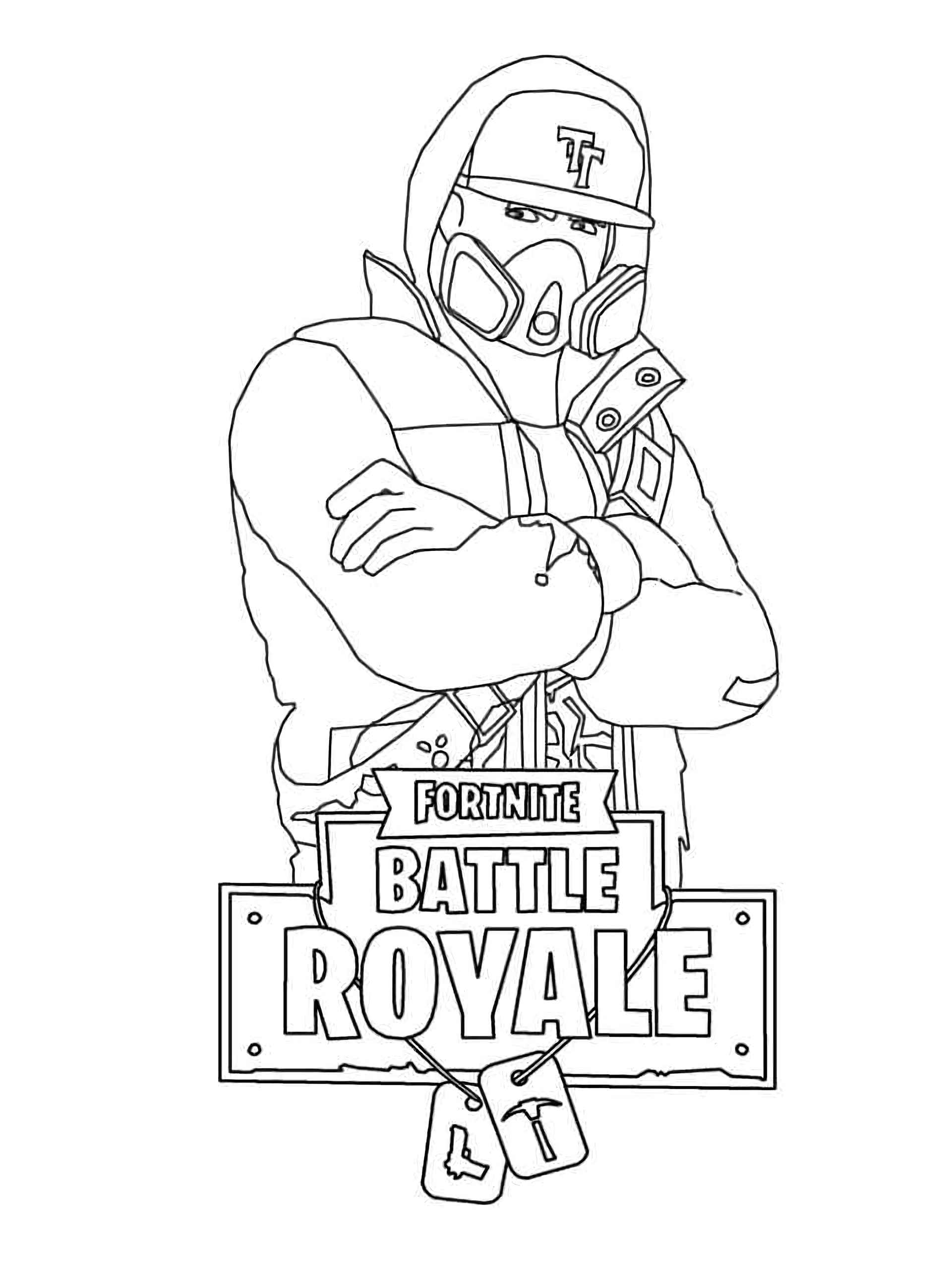 Coloring Sheet The Cool Dude In Mask And Hood Skin Fortnite
