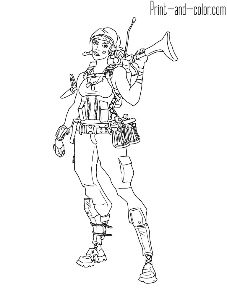 Coloring Sheet The Girl Soldier With Ammunition And A Machine Gun Skin From The Game Fortnite