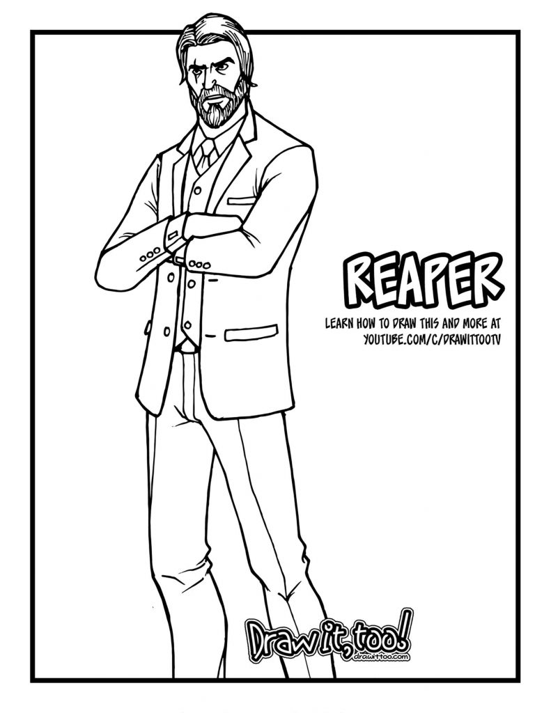 Coloring Sheet The John Wick Skin From The Game Fortnite