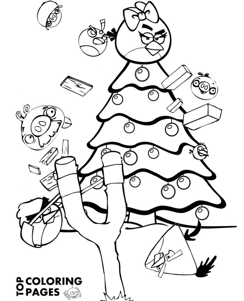 Coloring Sheet Throwing Angry Birds Into The Christmas Tree