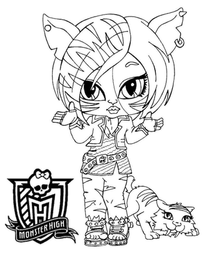 Coloring Sheet Toralei From Monster High As A Child With A Cat