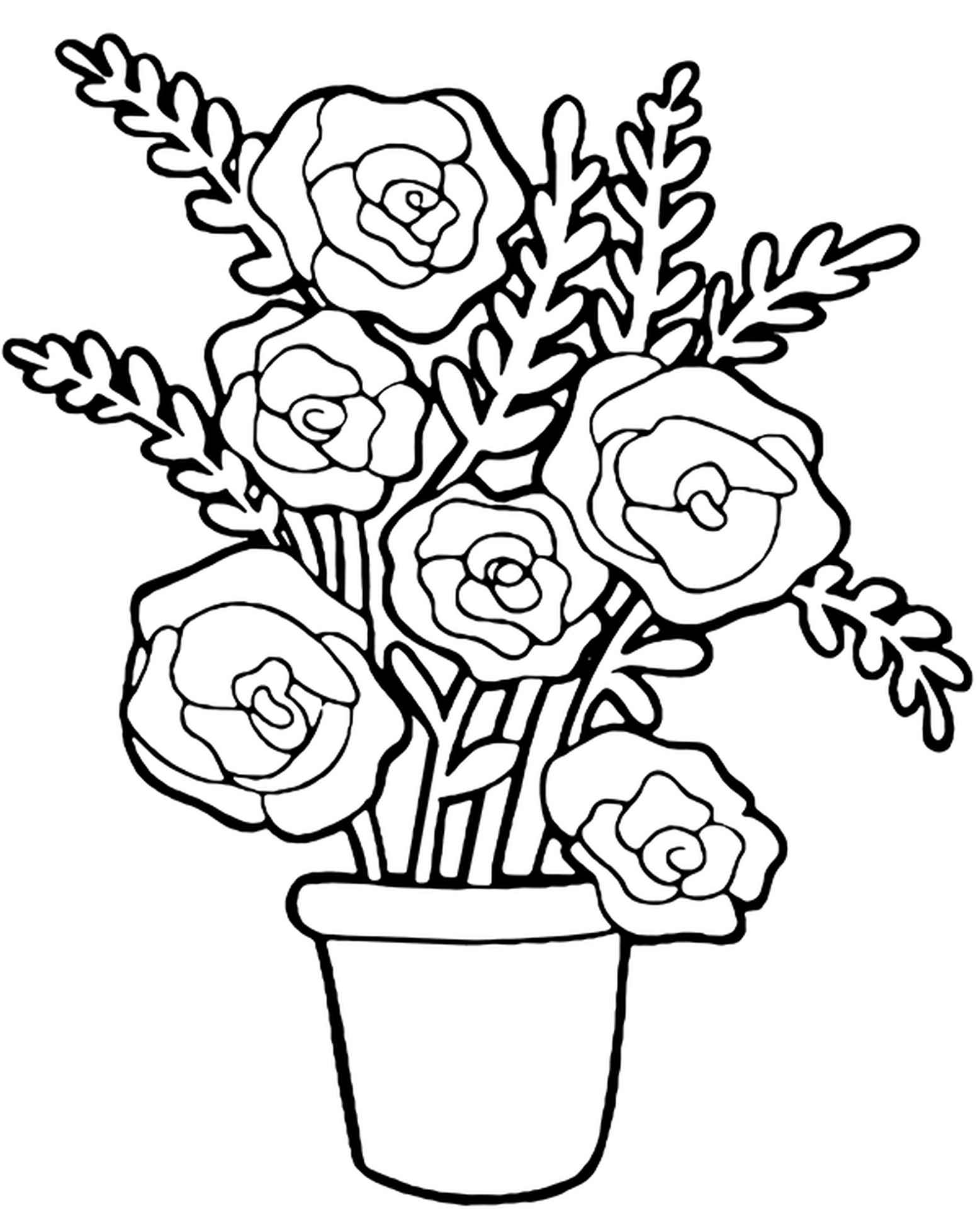Coloring Sheet White Roses In A Pot