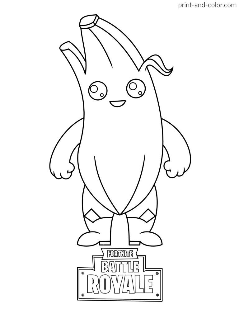 Coloring Sheets Of A Peely Banana Skin From The Game Fortnite