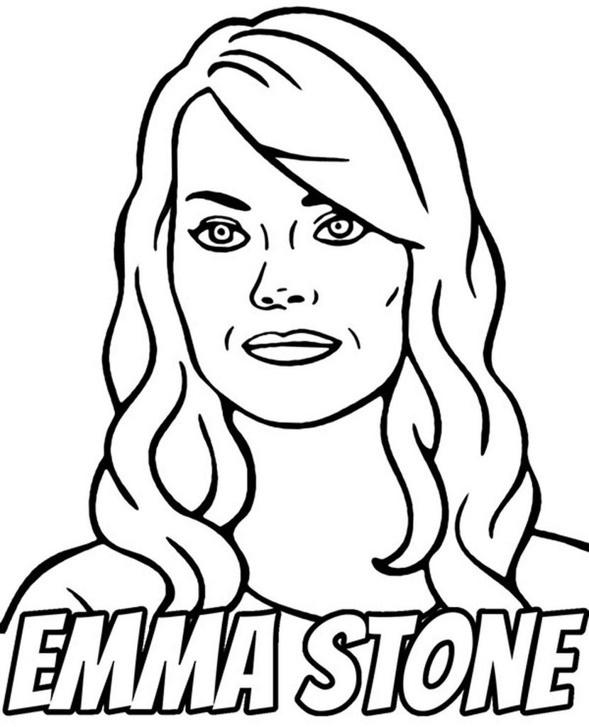 Coloring Sheets Of Actress Emma Stone With Her Hair Down