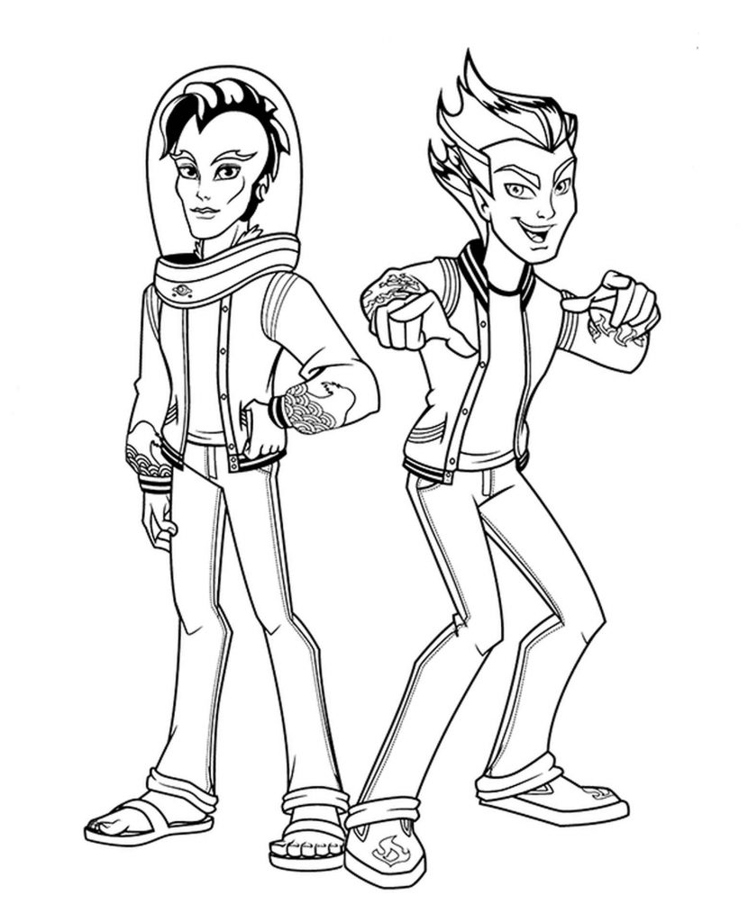 Coloring Sheets Of Cool And Naughty Burns And Webber From Monster High