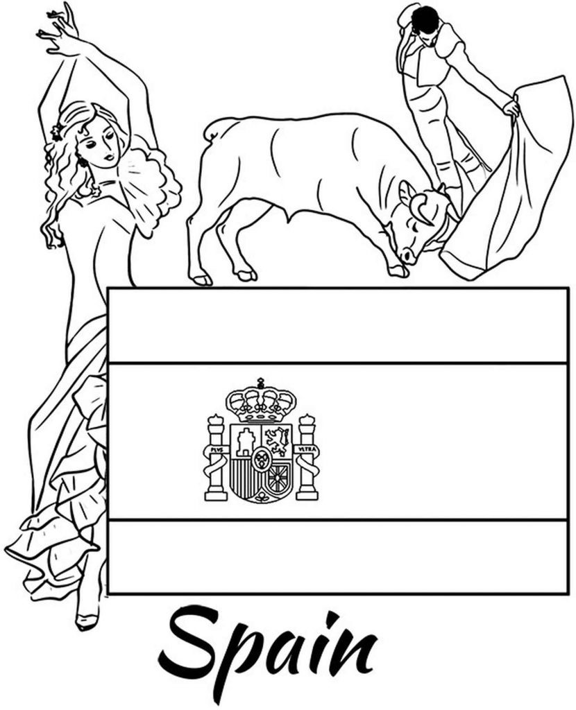 Coloring Sheets Of Spain Flag, Corrida And Traditional Dance