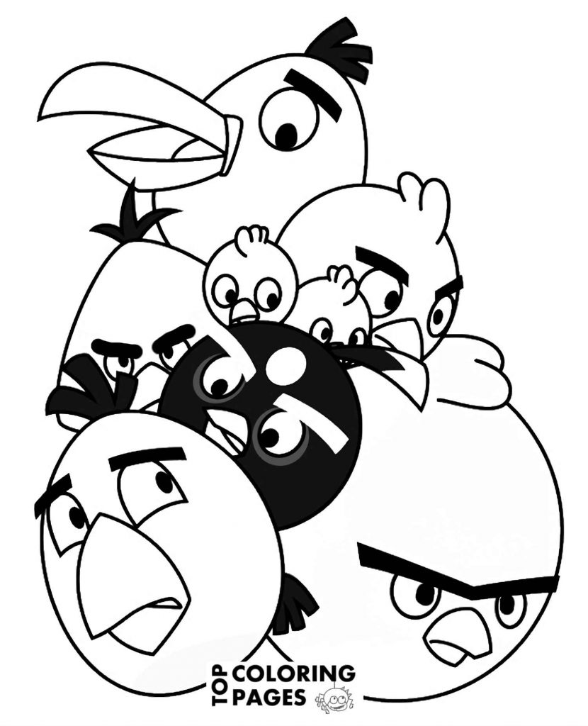 Coloring Sheets Of Terence, Chuck, Red, Bomb, Matilda,Hal And The Chicks In A Bunch