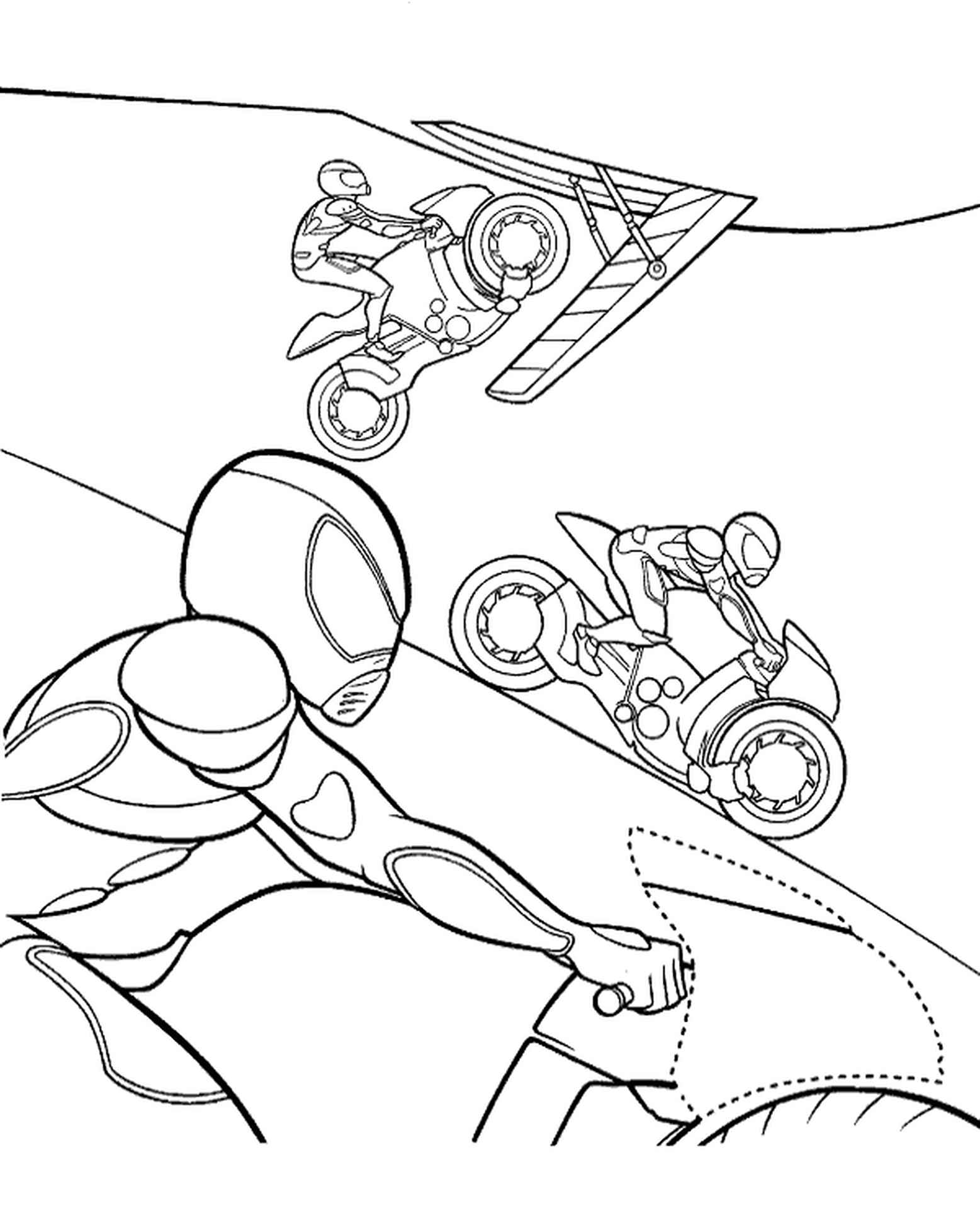 Comic Bikes Coloring Page